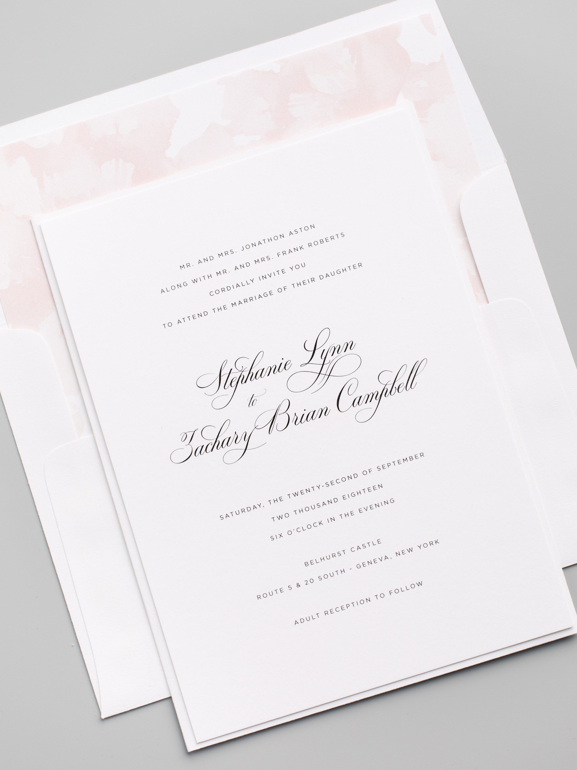 Delicate Calligraphy Wedding Invitations with a Watercolor Floral Envelope Liner