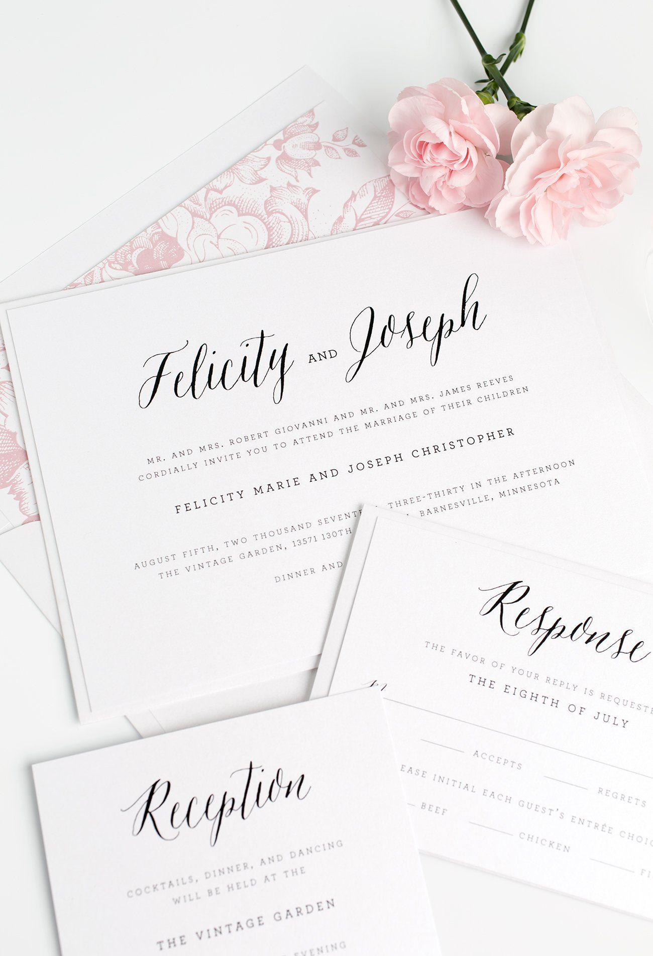 Rustic Romantic Wedding Invitations with a Petal Pink Floral Envelope Liner