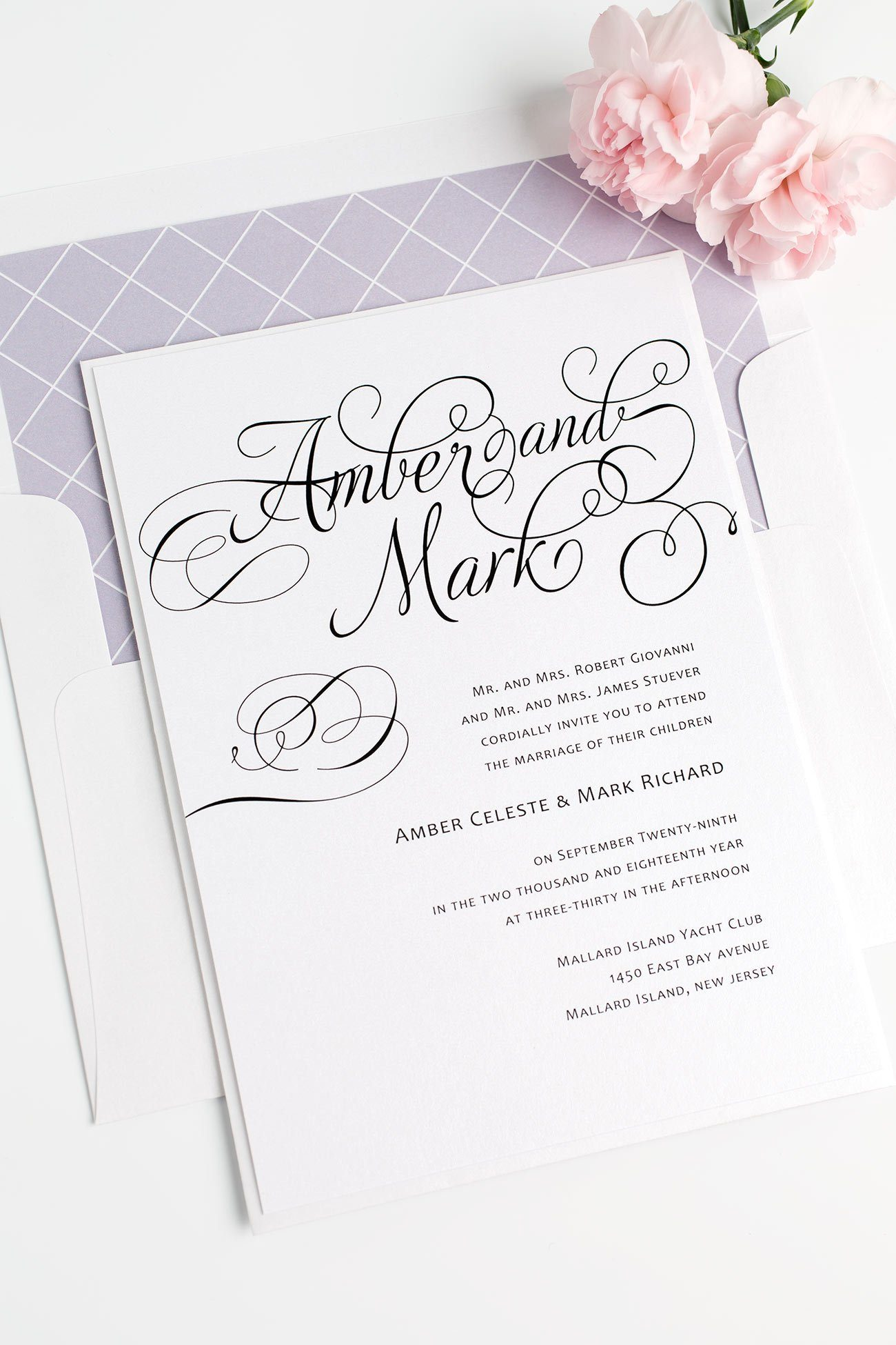 Charming Fairytale Wedding Invitations in Lavender with a Diamond Pattern Envelope Liner