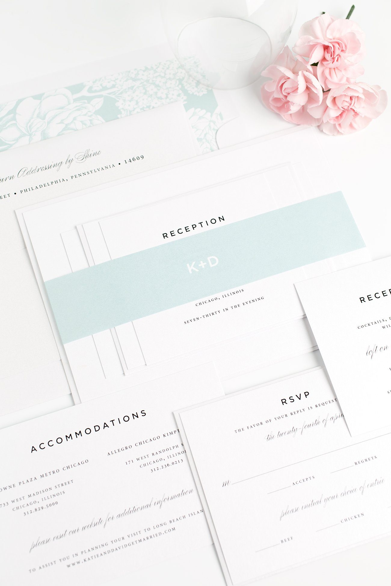 Contemporary Wedding Invitations in Mint with a Floral Envelope liner
