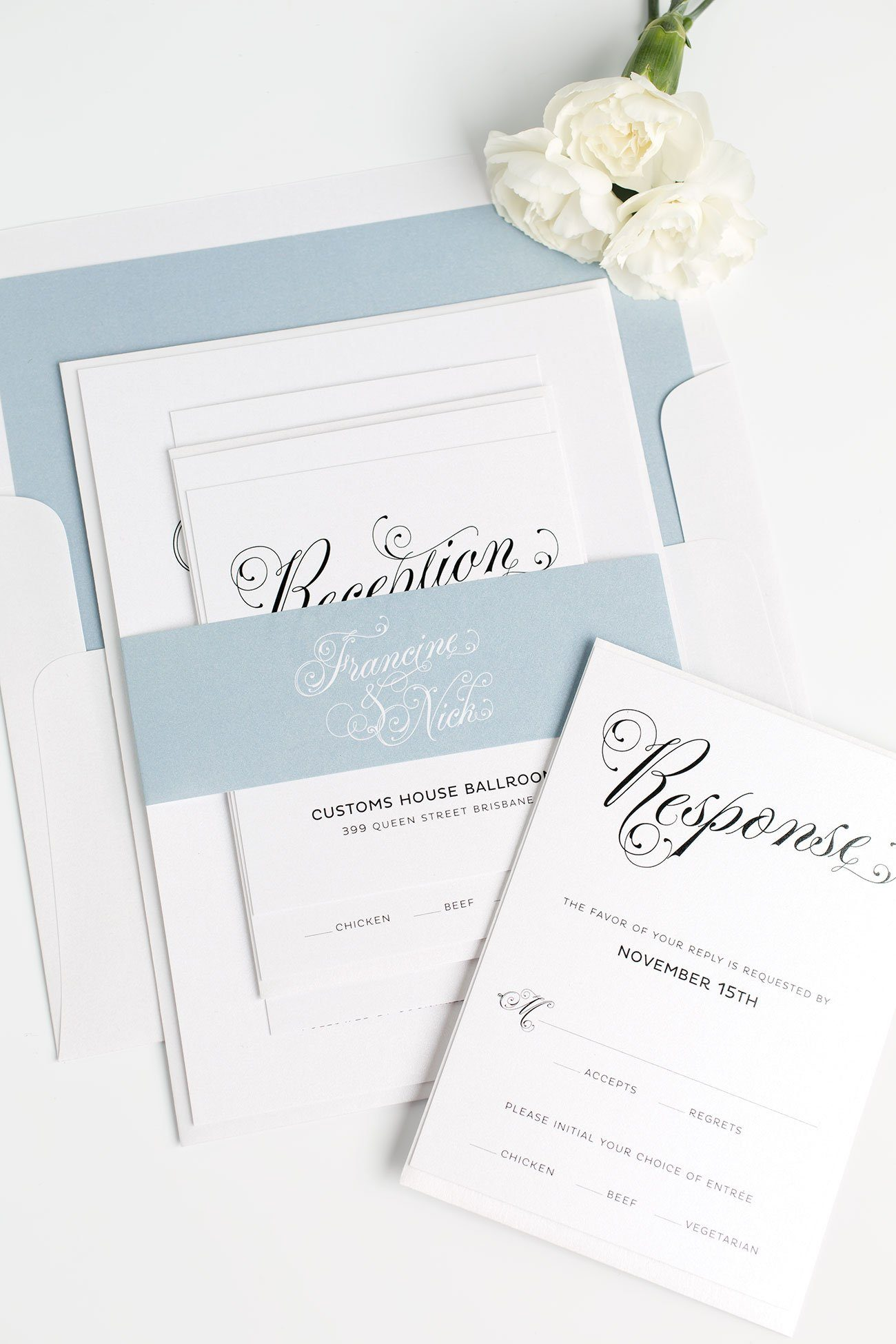 Glamorous Art Deco Wedding Invitations in Dusty Blue