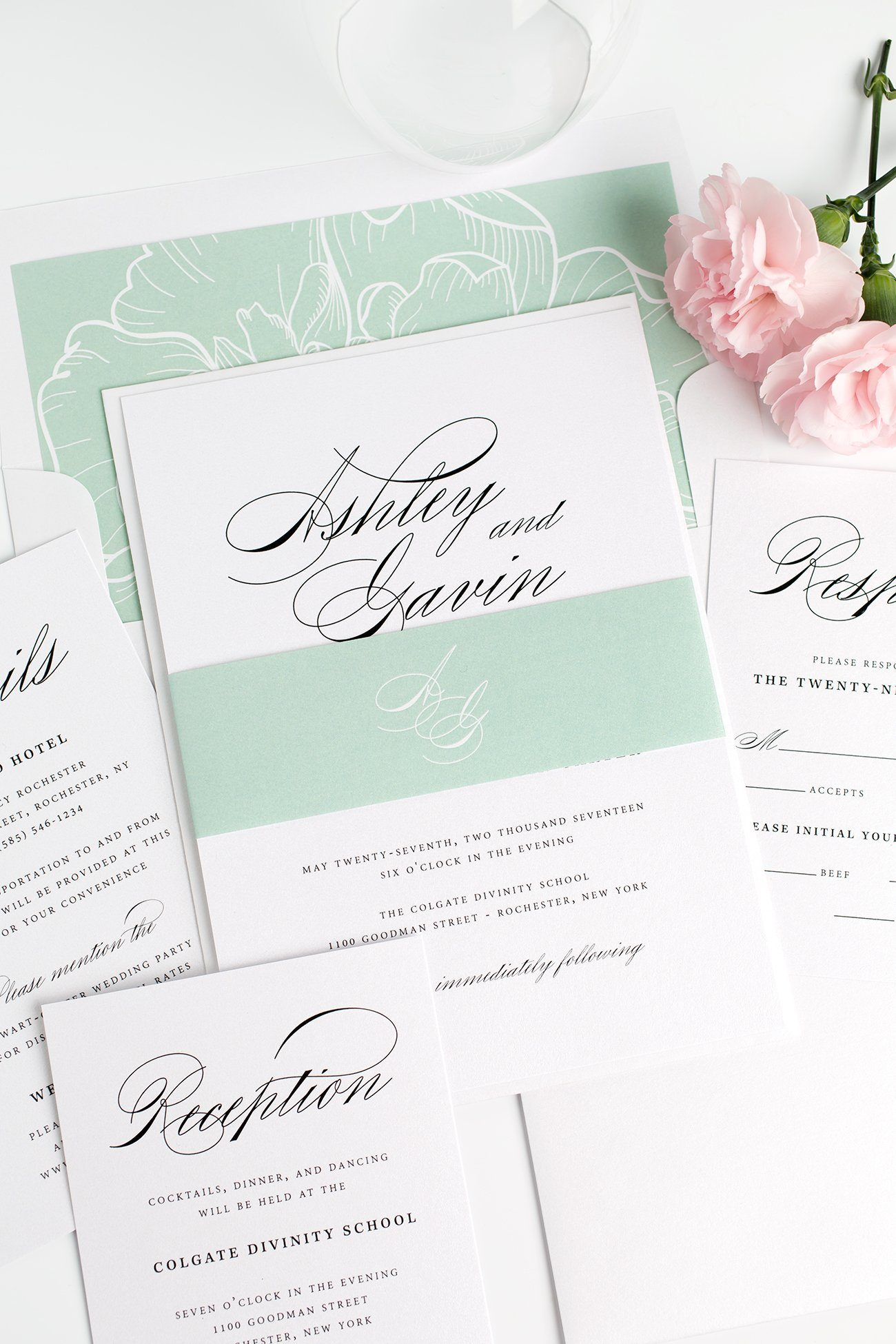 Simple and Classic Wedding Invitations in Light Green with a Floral Envelope Liner
