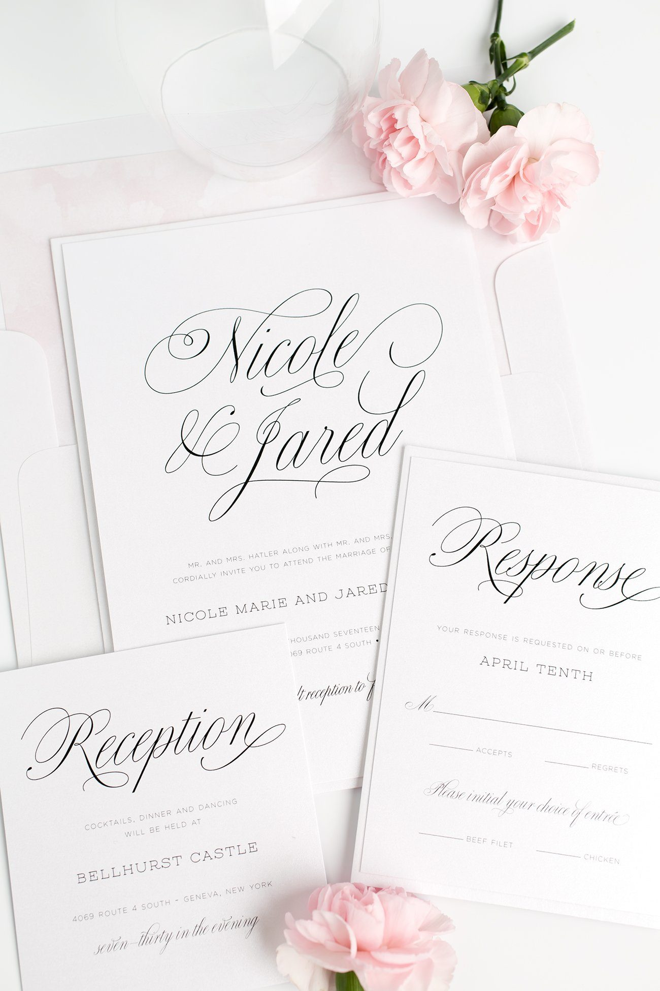 Blush Pink Garden Wedding Invitations with a Floral Watercolor Envelope Liner