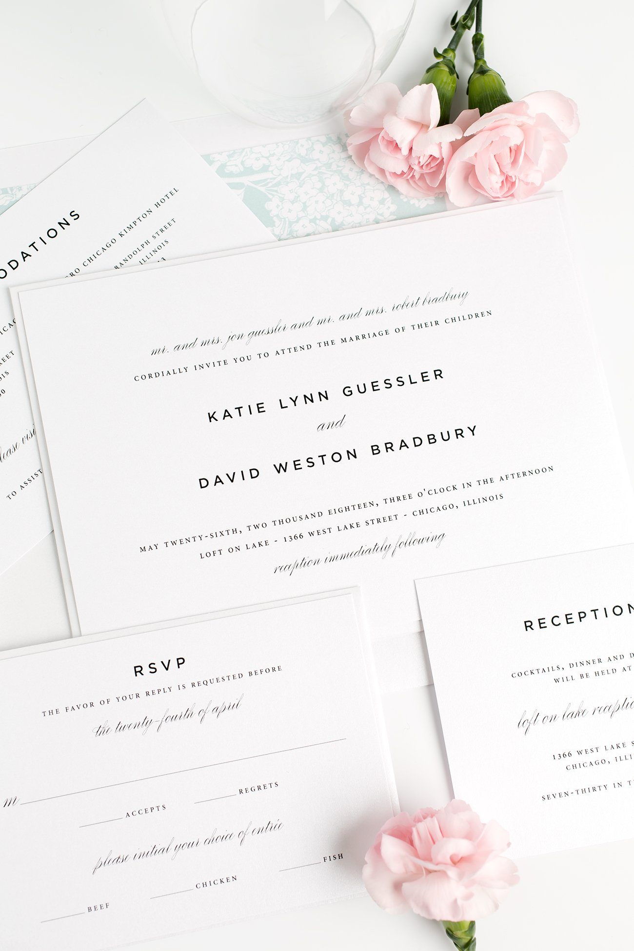 Classic Wedding Invitations in Mint Green with a Floral Envelope Liner