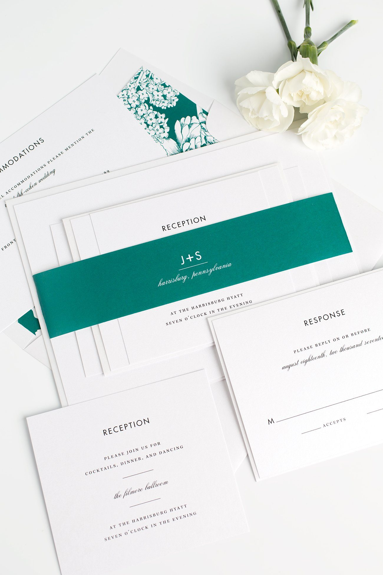 Modern and Romantic Wedding Invitations with an Emerald Green Floral Envelope Liner