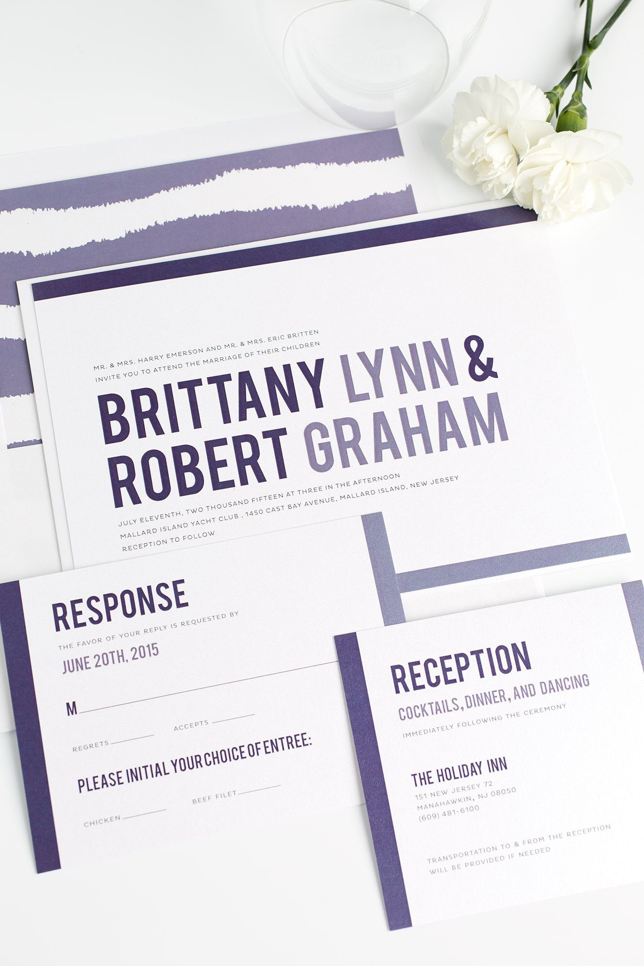 Modern Purple Wedding Invitations with Painterly Stripes Envelope Liner