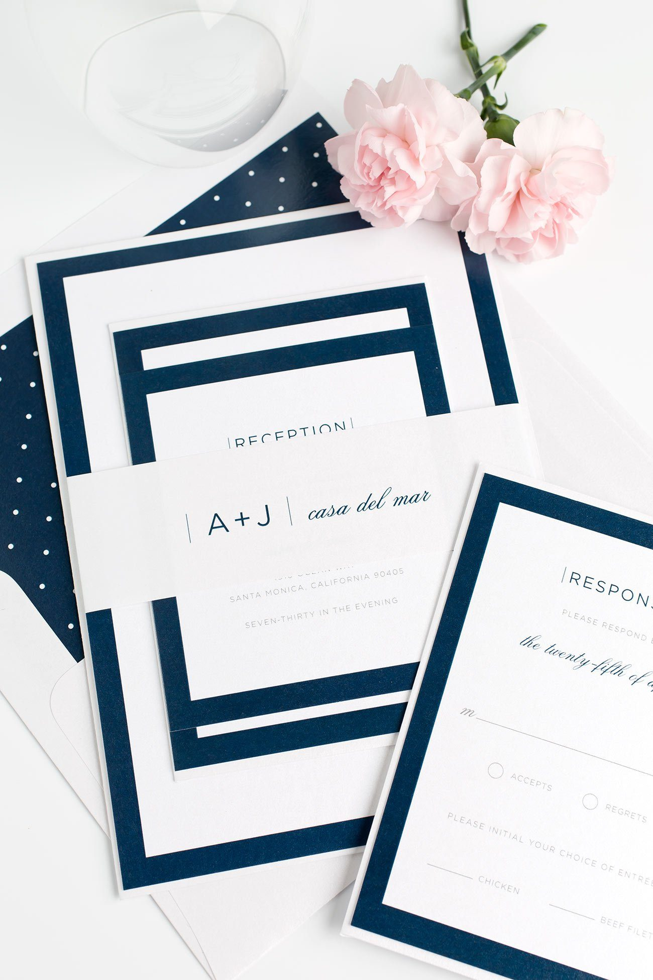 Modern Monogram Wedding Invitations in Navy Blue