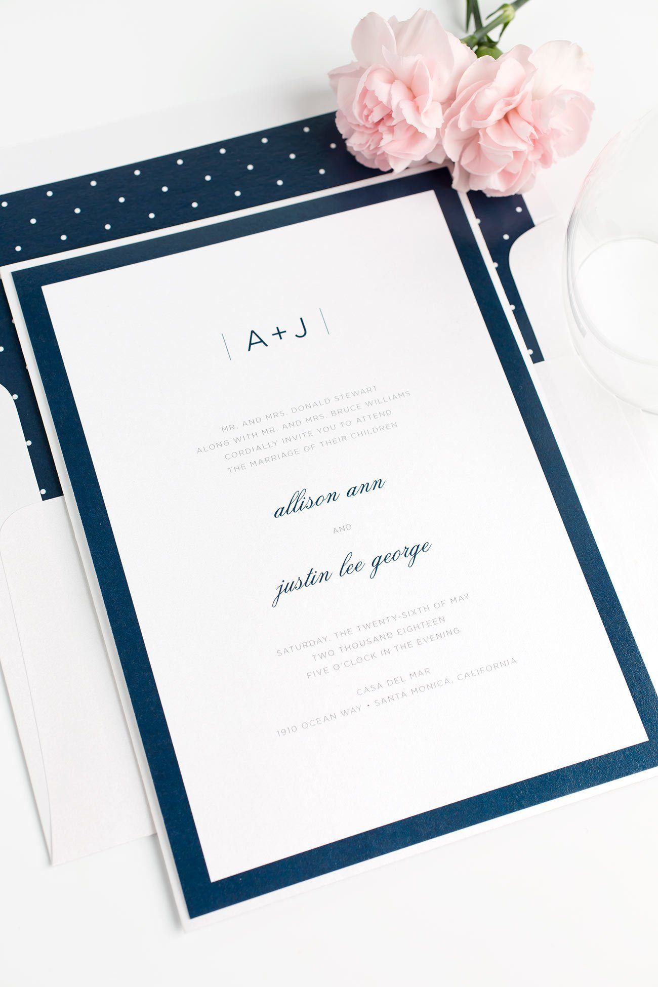 Modern Navy Blue Wedding Invitations with a Monogram and Borders