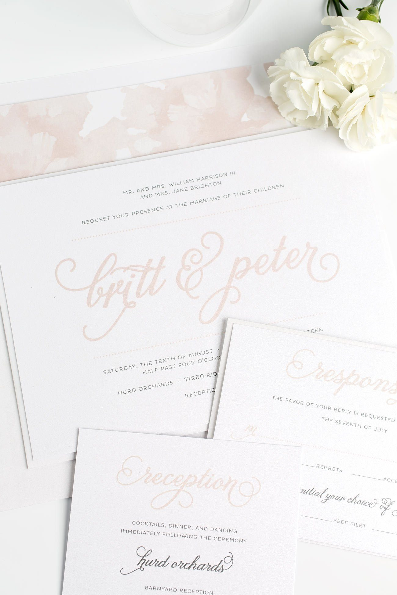 Romantic and Whimsical Wedding Invitations in Rose Gold with a Floral Watercolor Envelope Liner