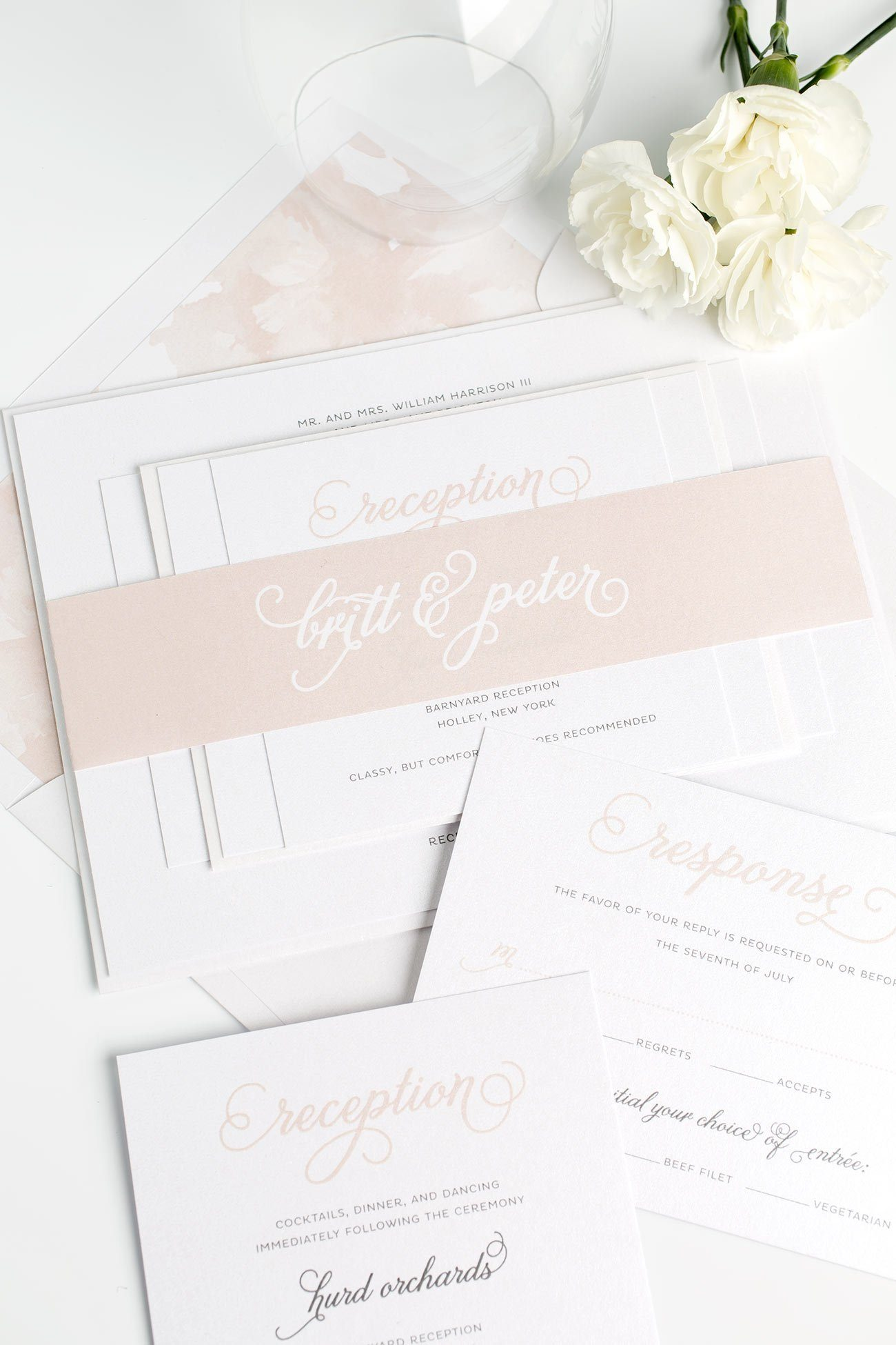 Classic Rose Gold Wedding Invitations with a Floral Watercolor Envelope Liner