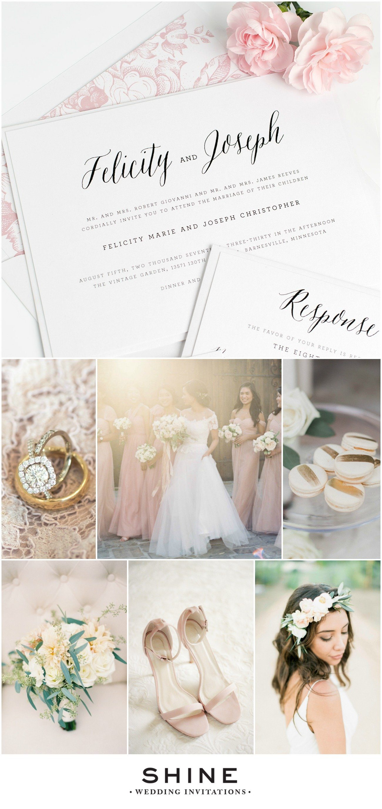 Rustic and Romantic Wedding Inspiration in Blush and Gold