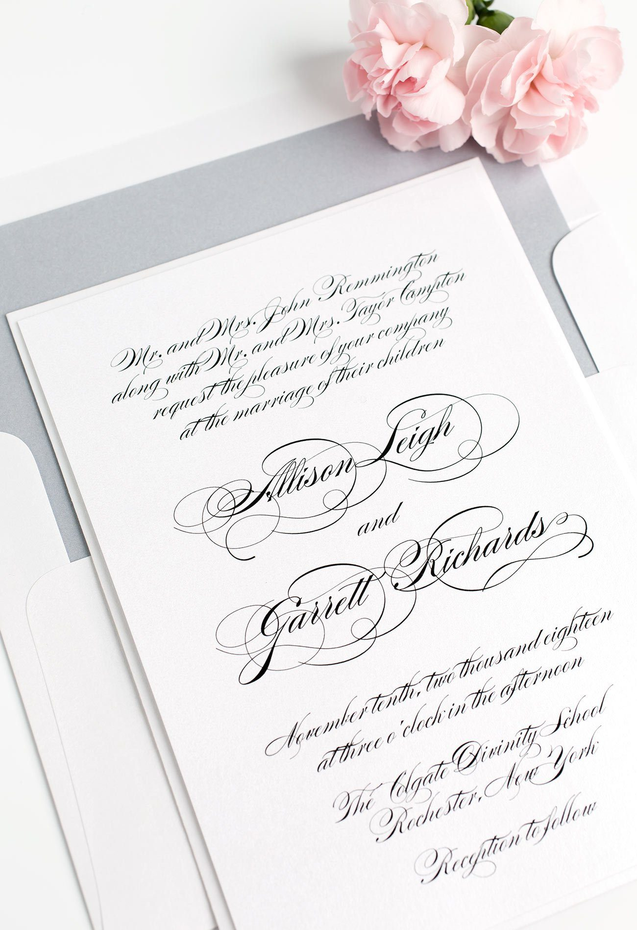 Elegant All Script Wedding Invitations in Dove Gray