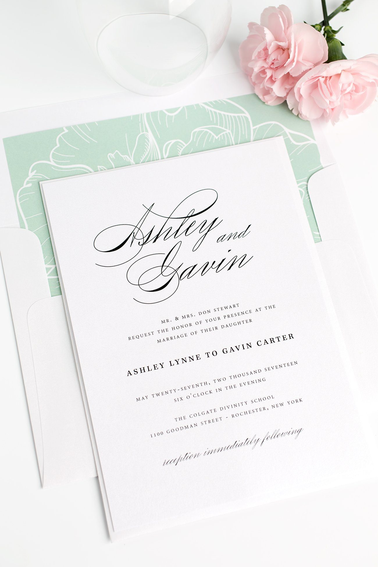 Timeless Script Wedding Invitations in Soft Jade with a Floral Envelope Liner