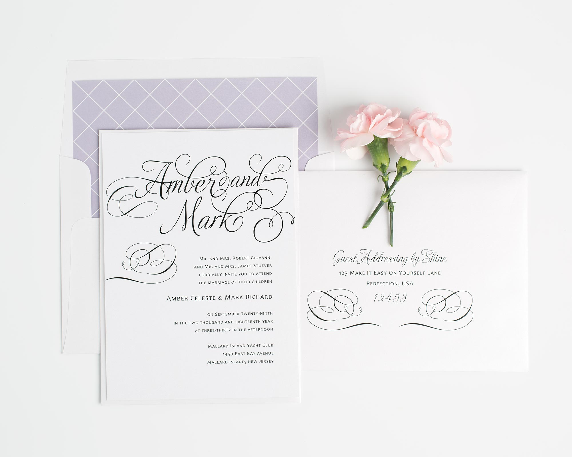 Decorative Wedding Invitations in Purple