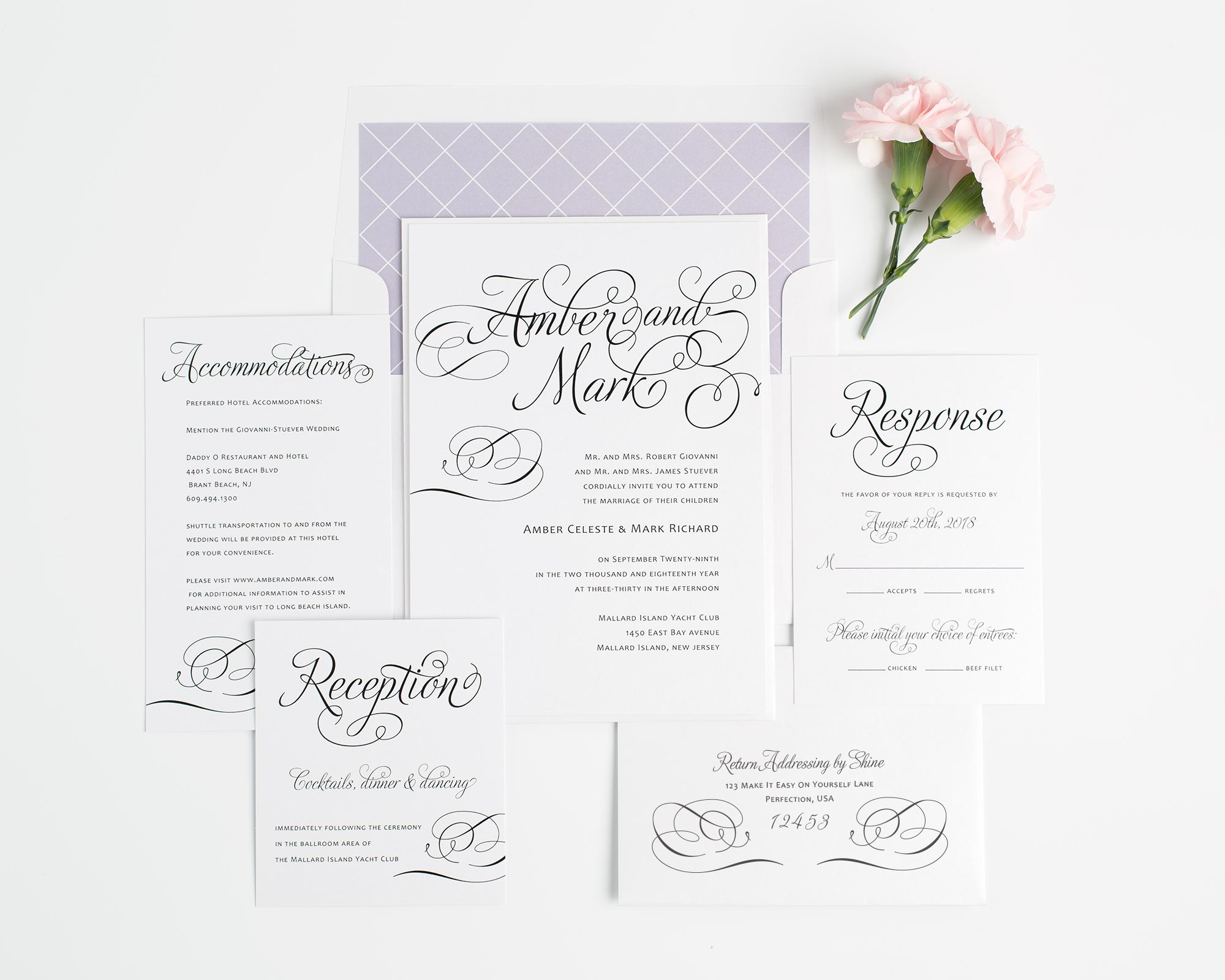 Whimsical Wedding Invitations in Lavender Purple