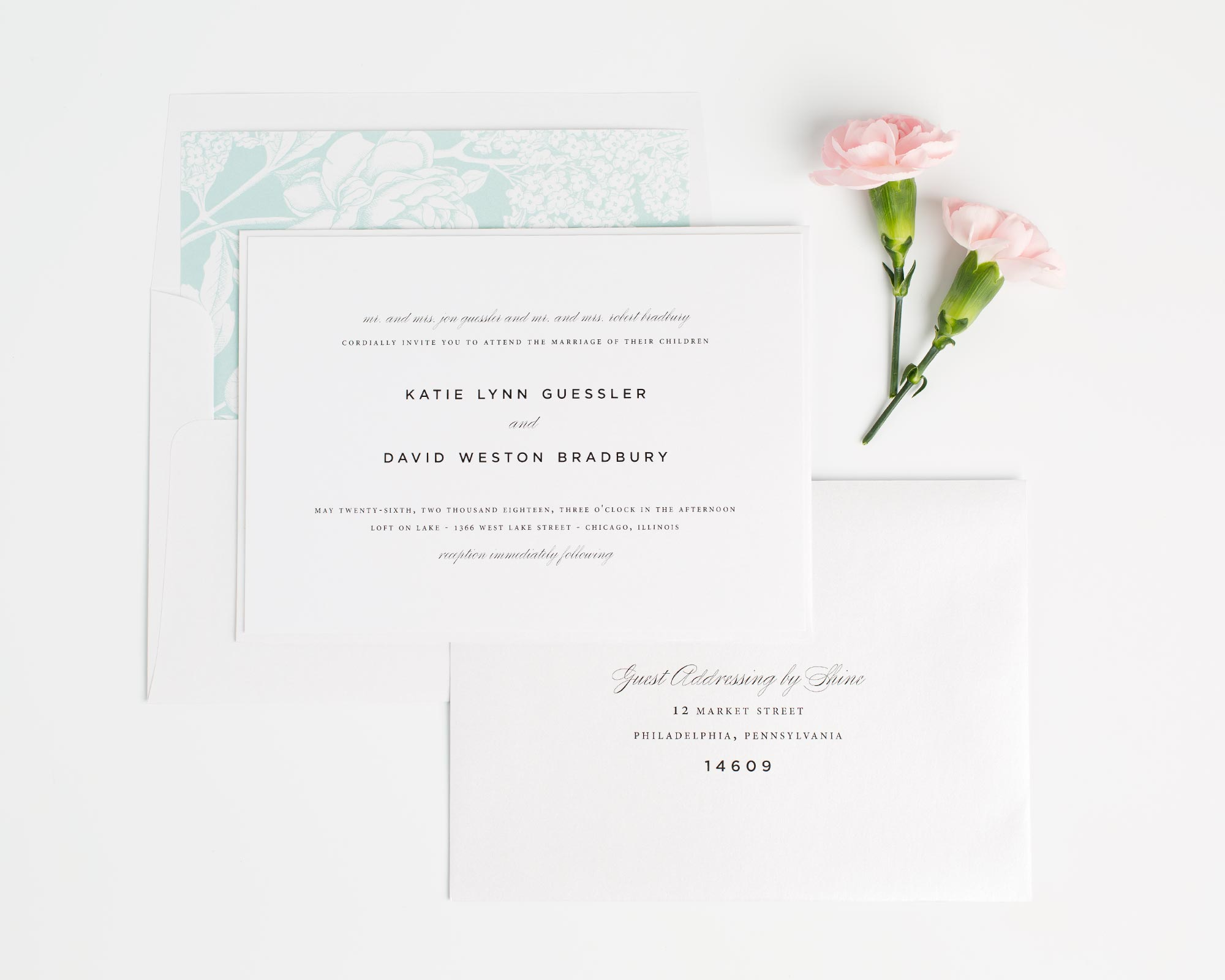 Urban Wedding Invitations in Mint