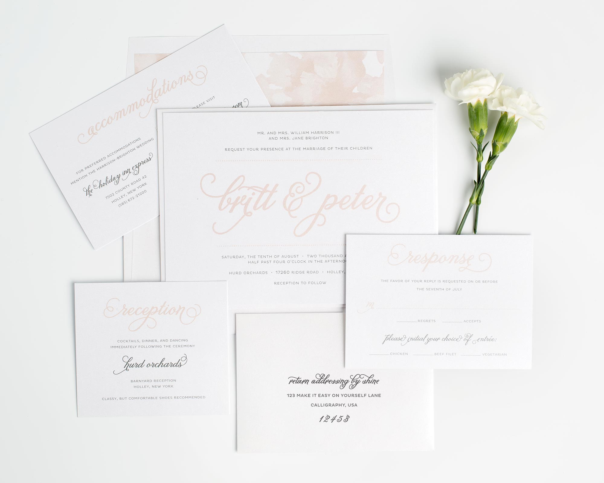 Watercolor Wedding Invitations in Rose Gold
