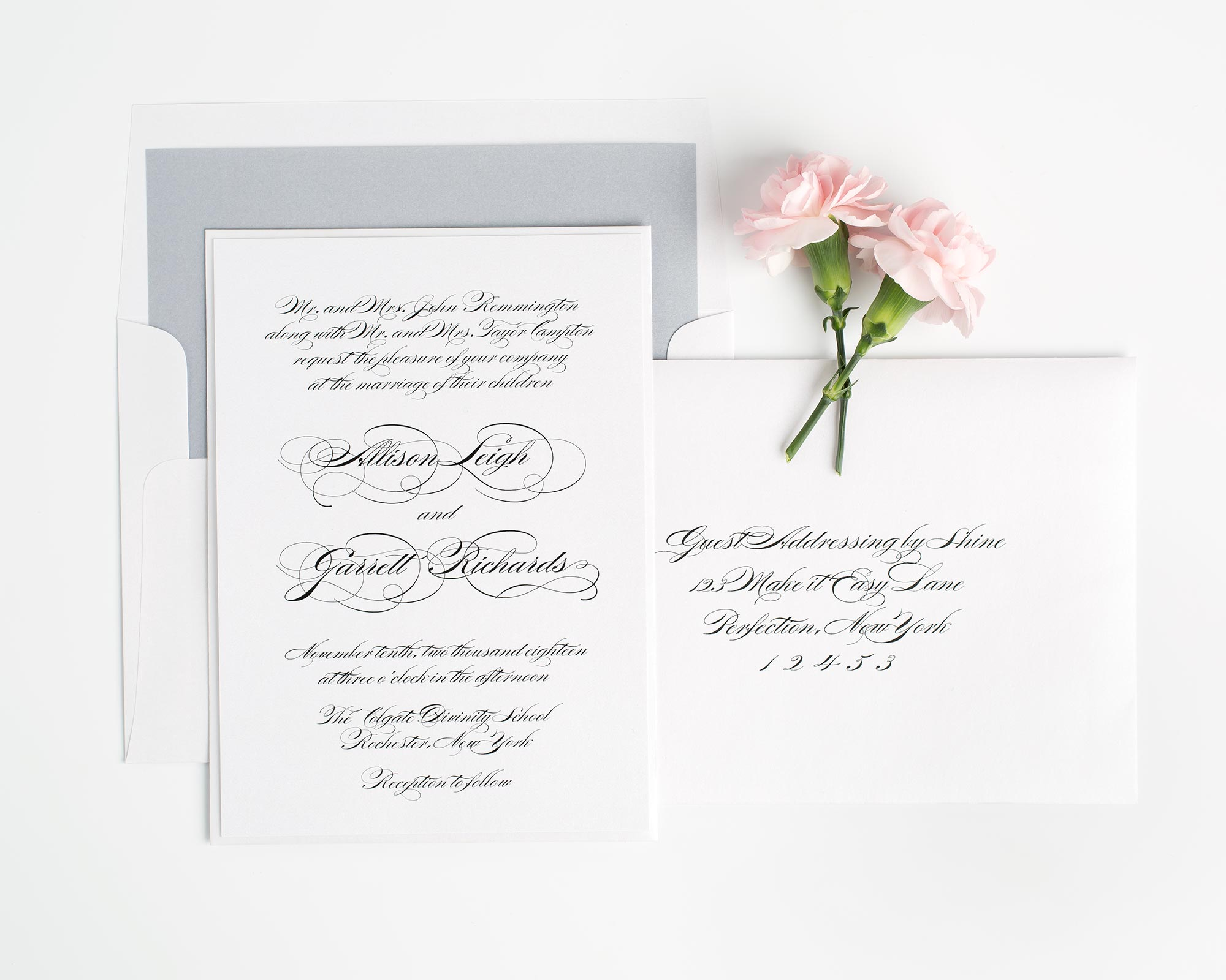 Elegant Script Wedding Invitations in Gray