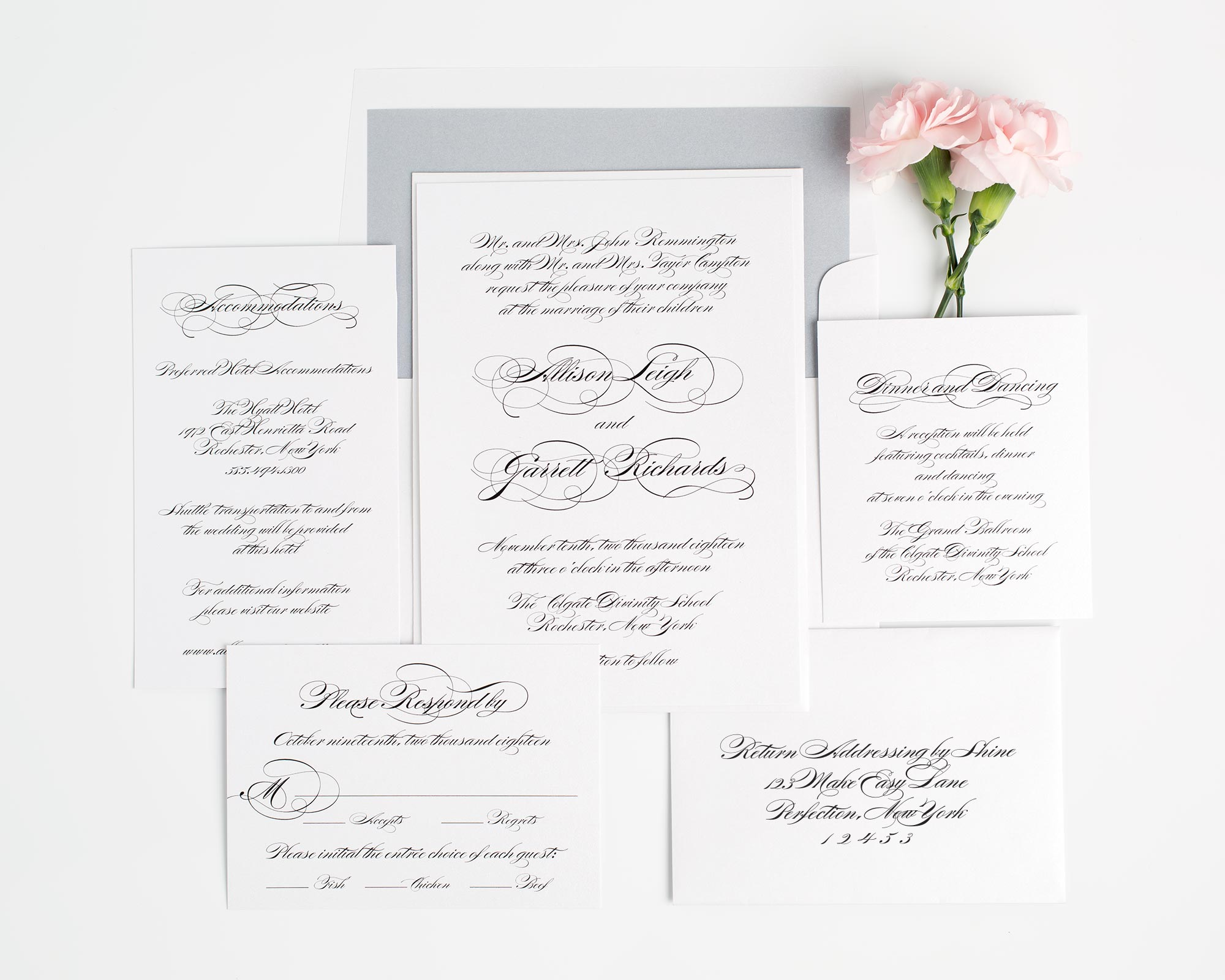 Classic and Elegant Script Wedding Invitations in Dove Gray