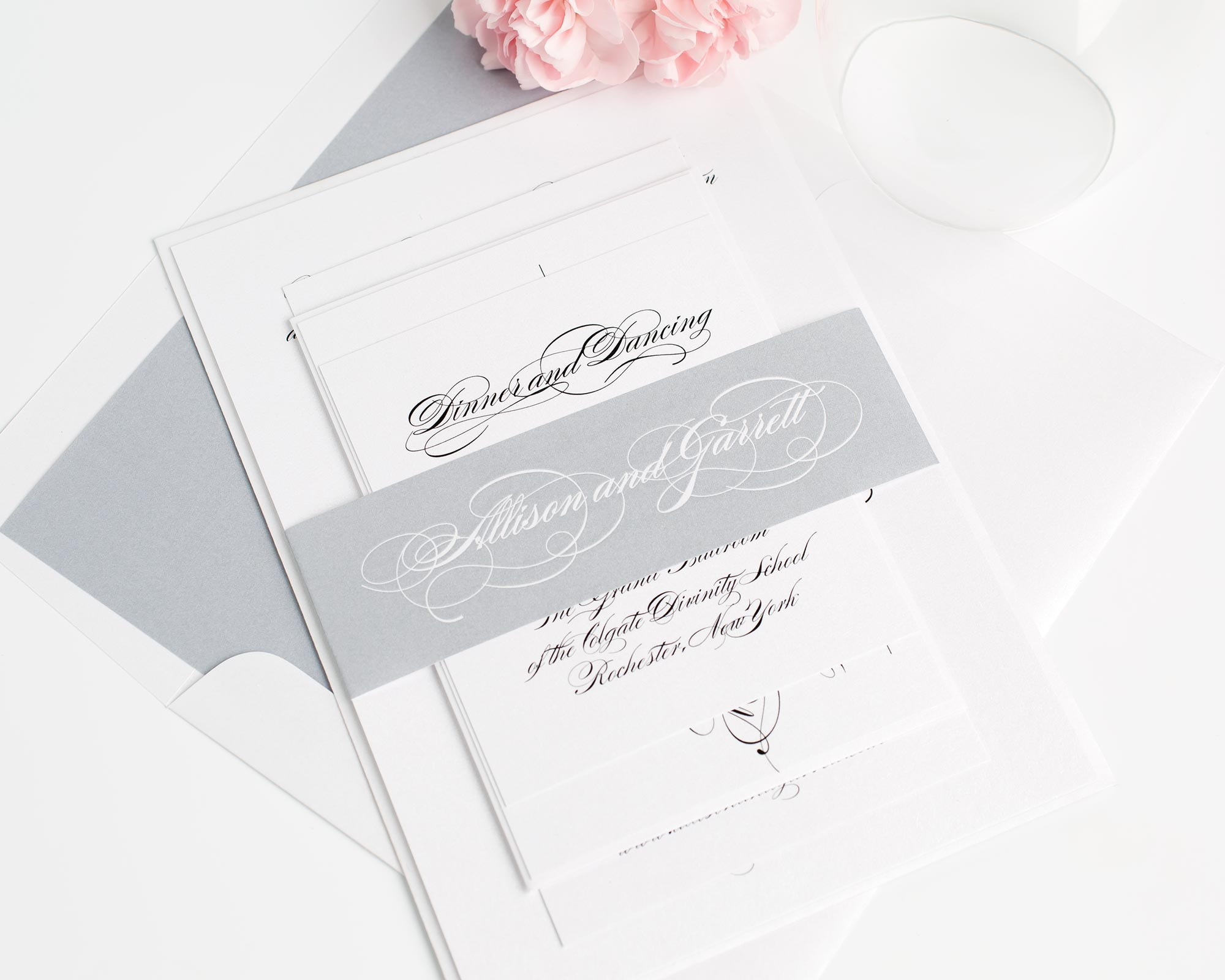 Timeless and Classic Wedding Invitations in All Script with Gray Accents