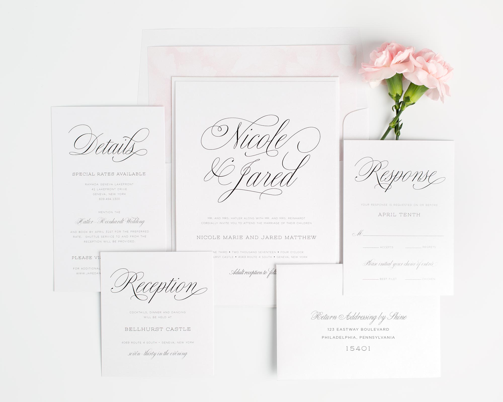 Floral Watercolor Wedding Invitations in Blush Pink