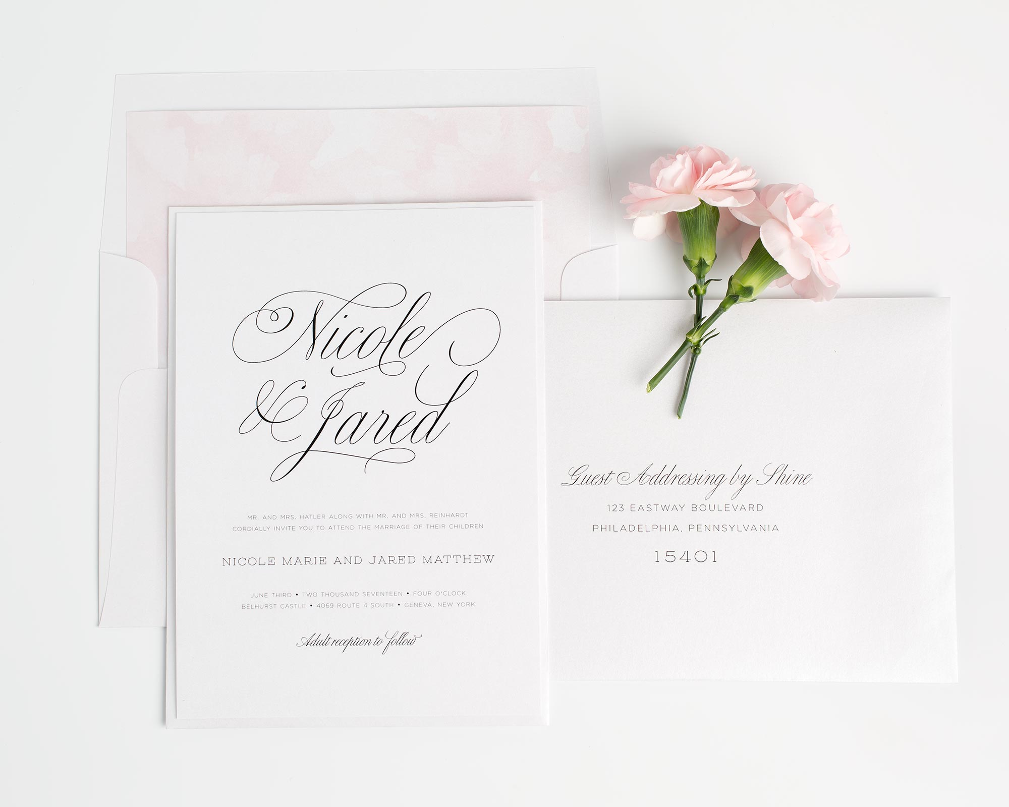 Garden Wedding Invitations in Light Pink