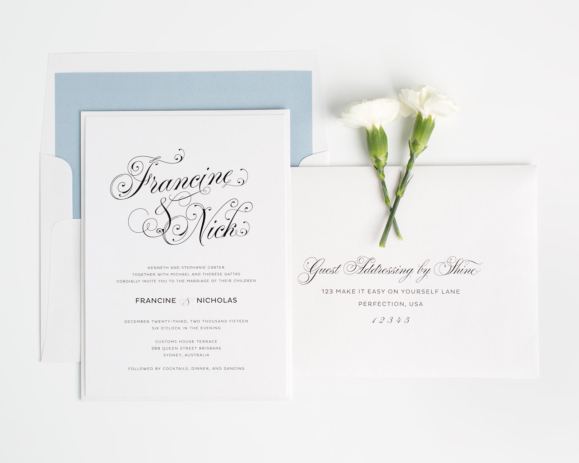 Dusty Blue Wedding Invitations with Script