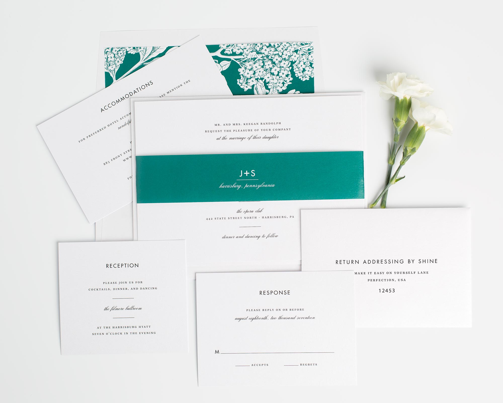 Modern Stationery Suite in Emerald Green