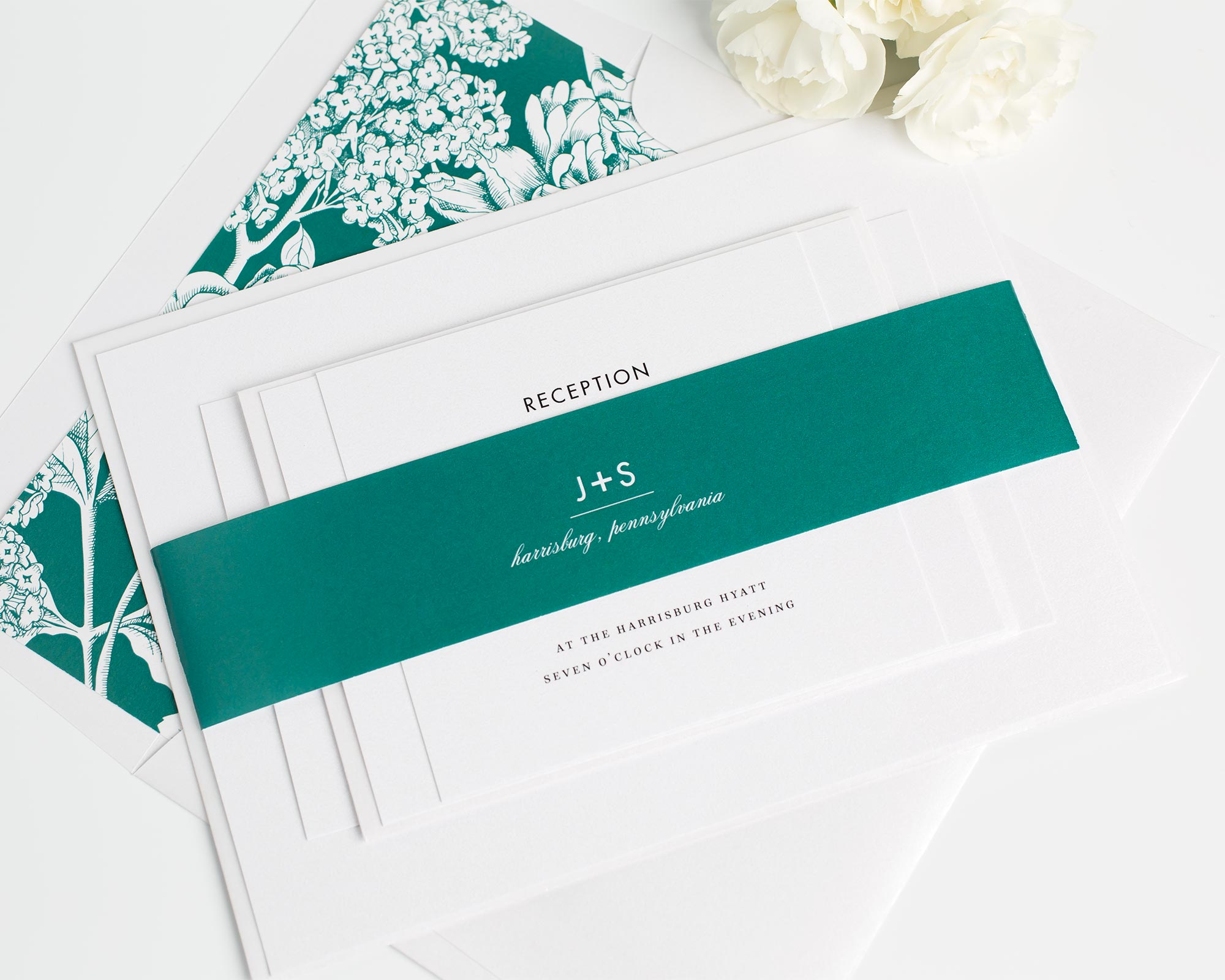 Modern Monogram Wedding Invitations in Jewel Tones
