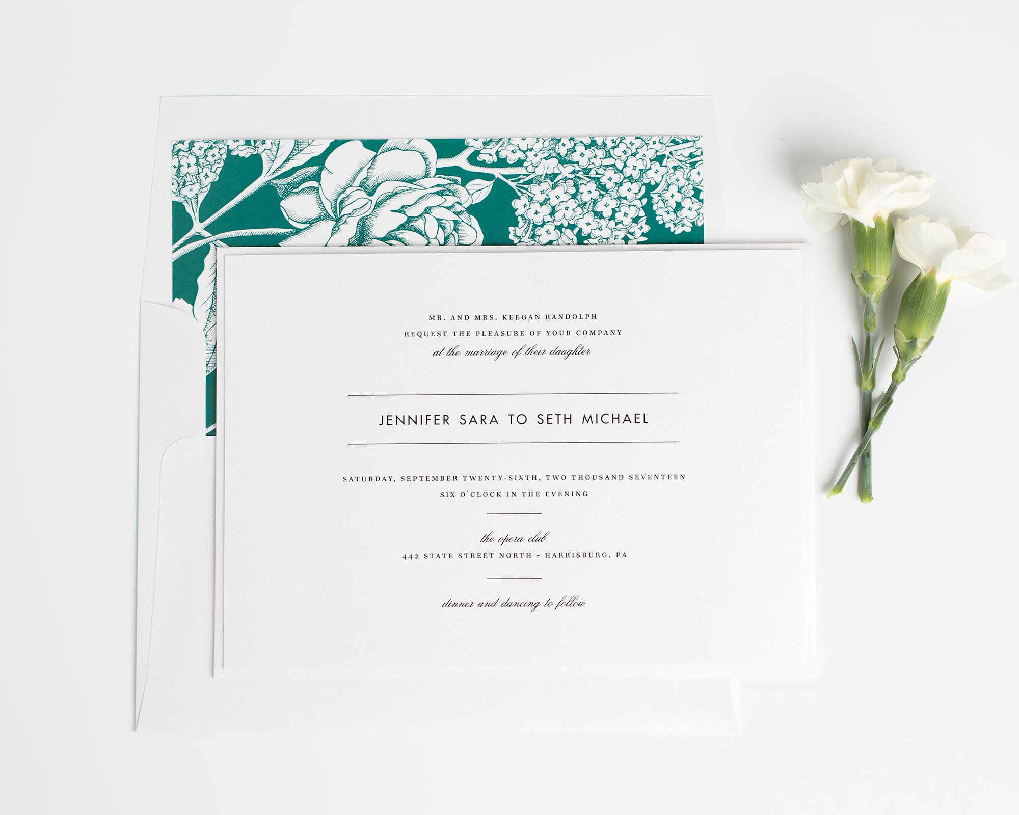 Floral Wedding Invitations in Emerald Green