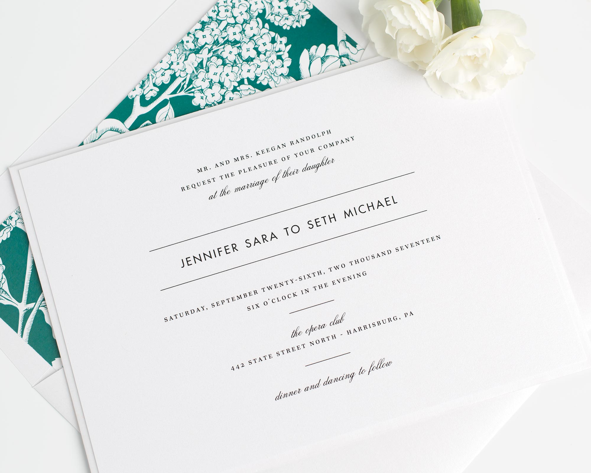 Modern Romantic Wedding Invites In Emerald Green with Floral Accents
