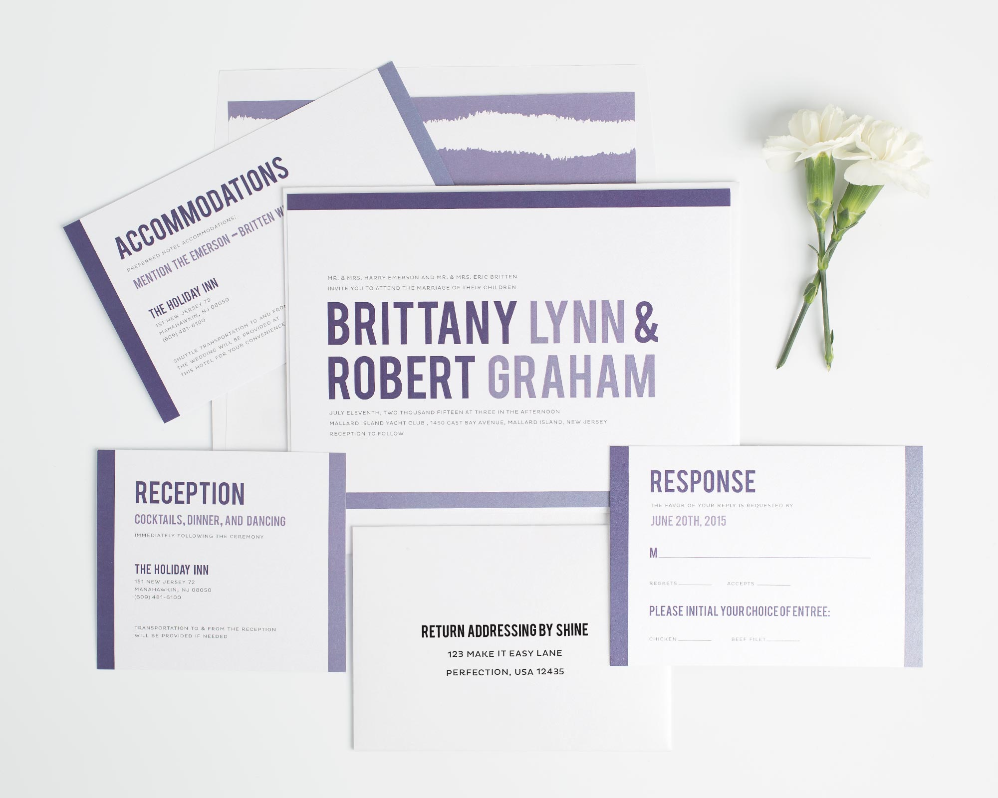 Contemporary Wedding Invitations in Purple Ombre