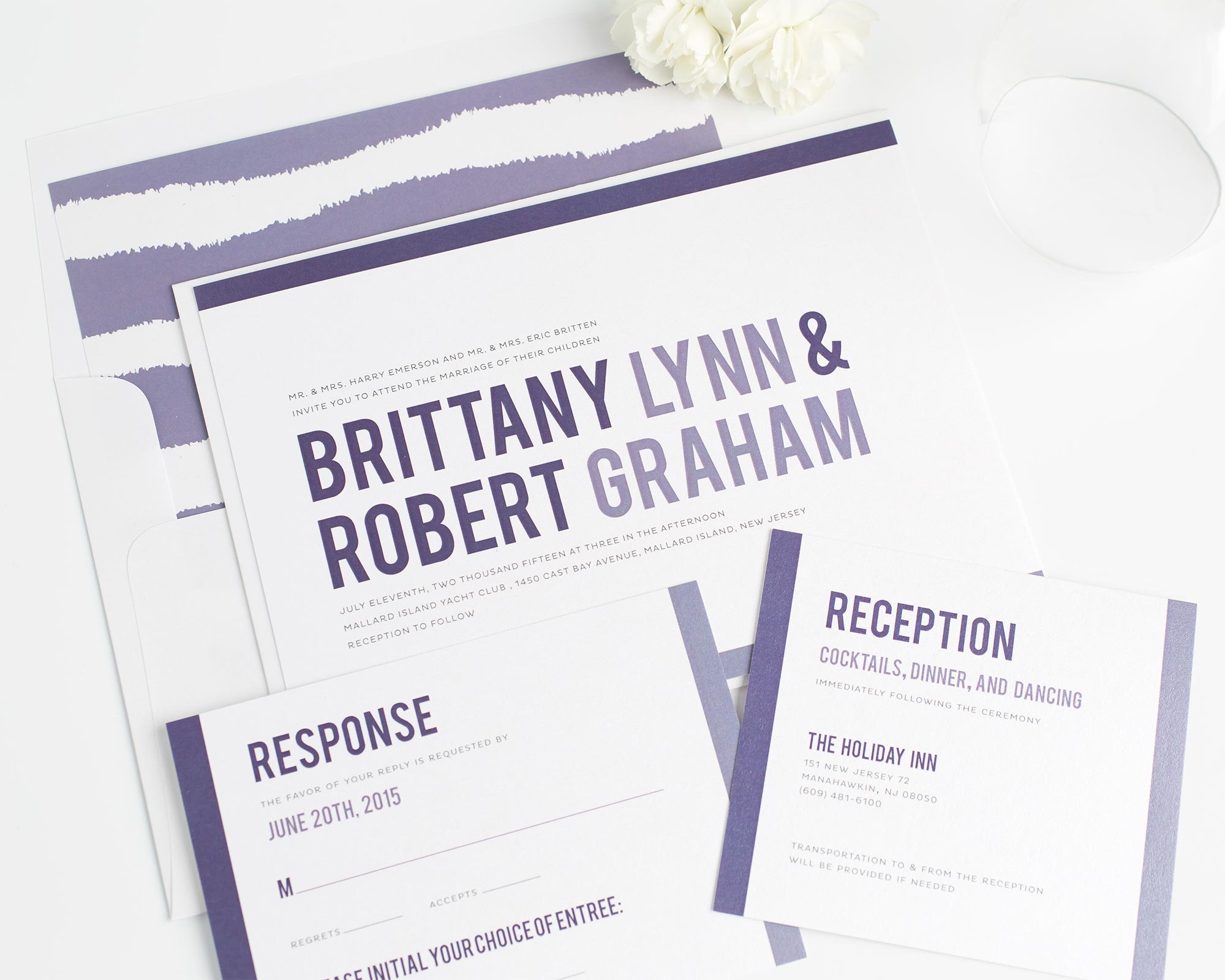 Modern Purple Ombre Wedding Invitations ...