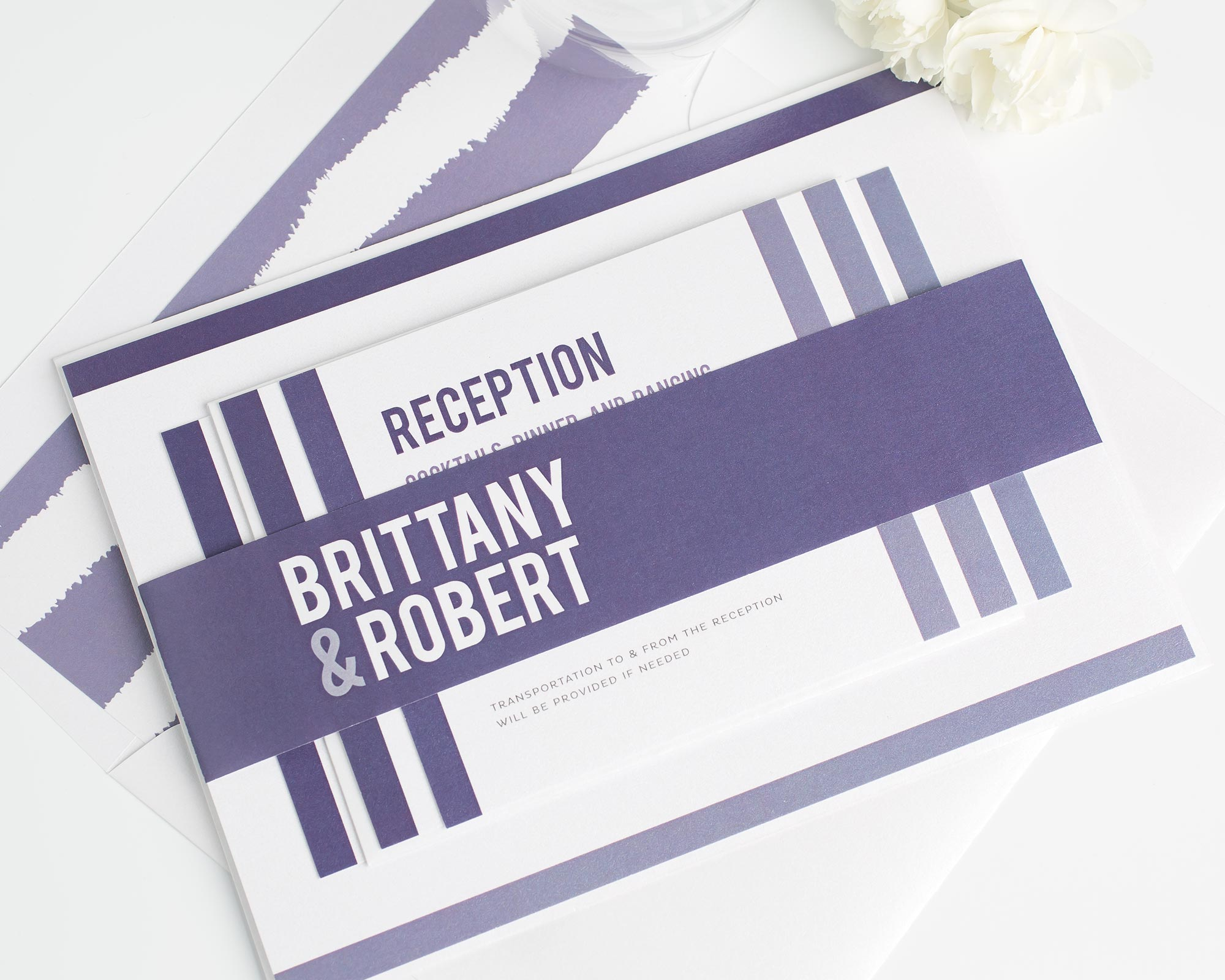 Bold Wedding Invitations in Purple with a Striped Envelope Liner