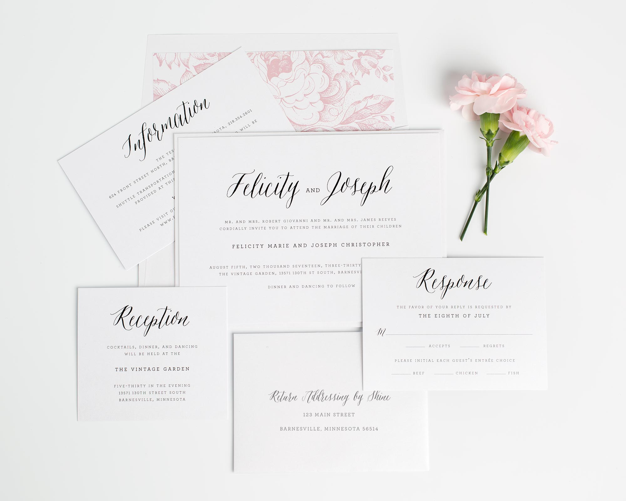 Rustic Wedding Invitations in Pink with a Floral Envelope Liner