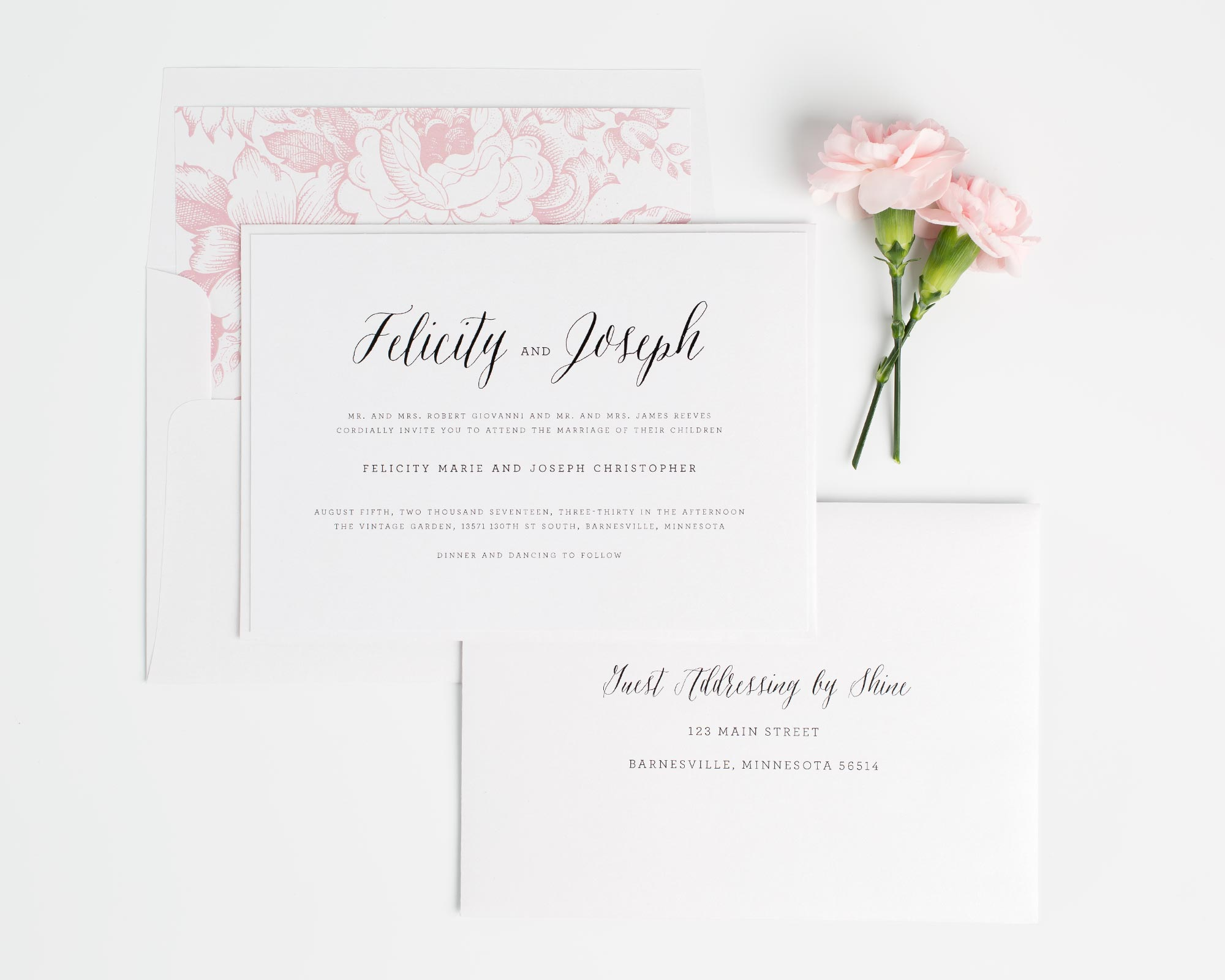 Rustic Wedding Invitations in Pink