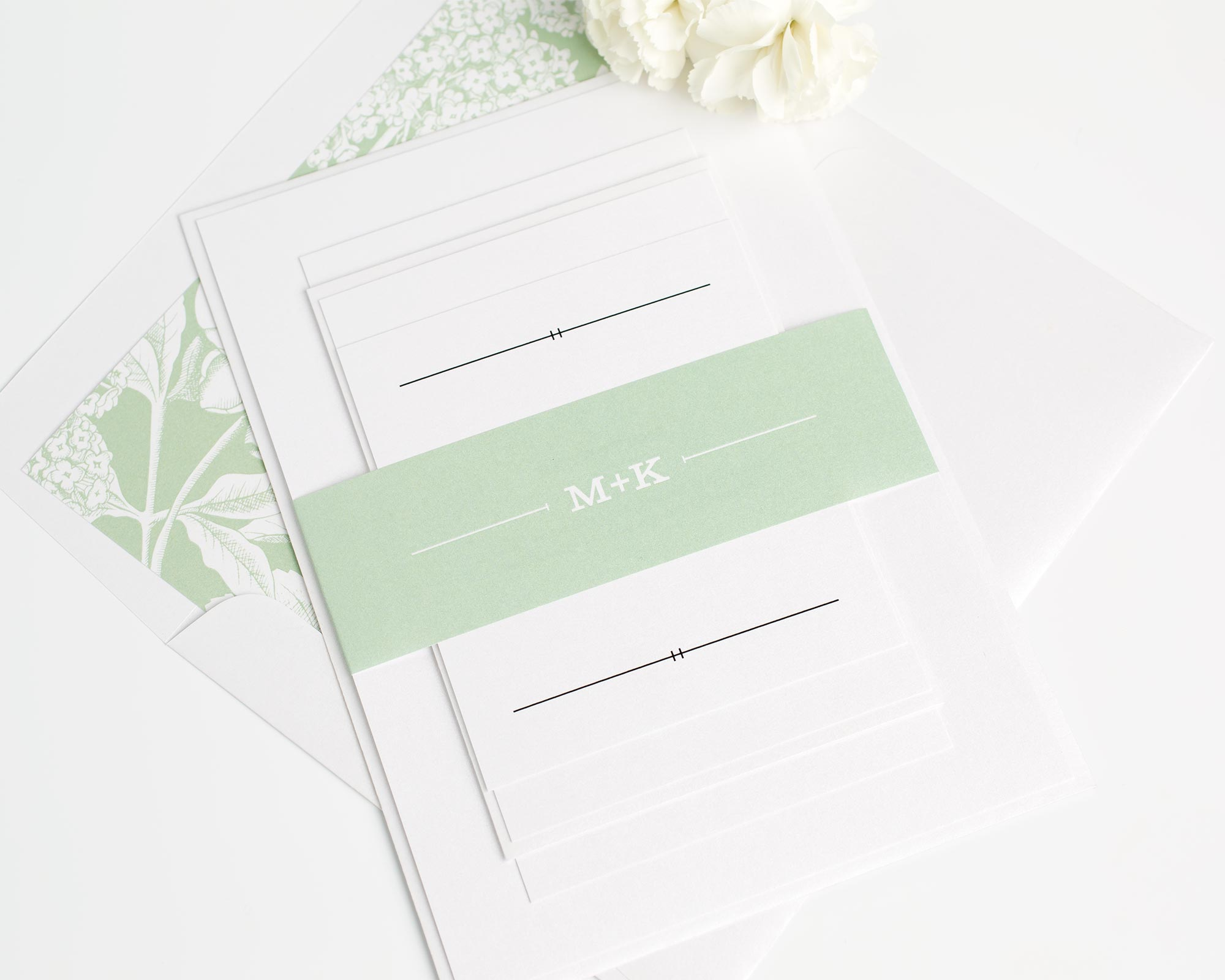 Simple Rustic Floral Wedding Invitations in Leaf Green