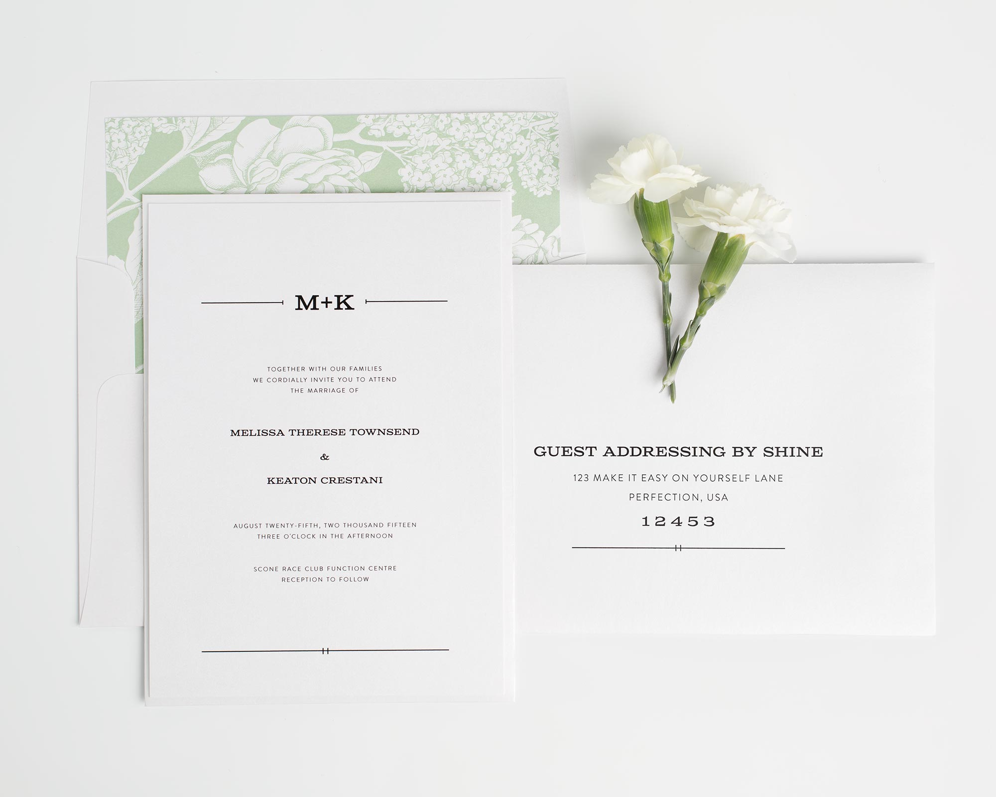 Rustic Floral Wedding Invitations in Leaf Green
