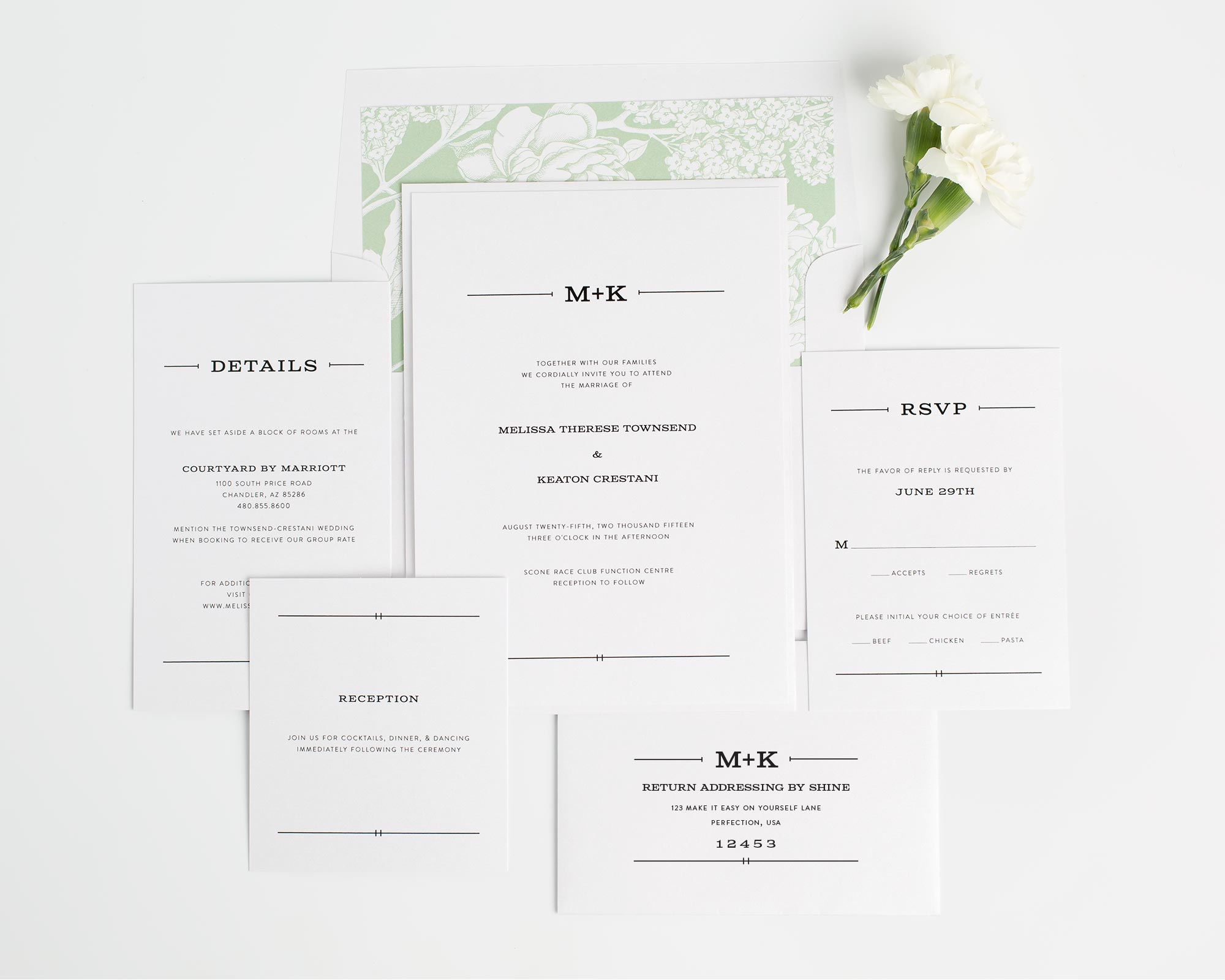Rustic Monogram Wedding Invites in Green