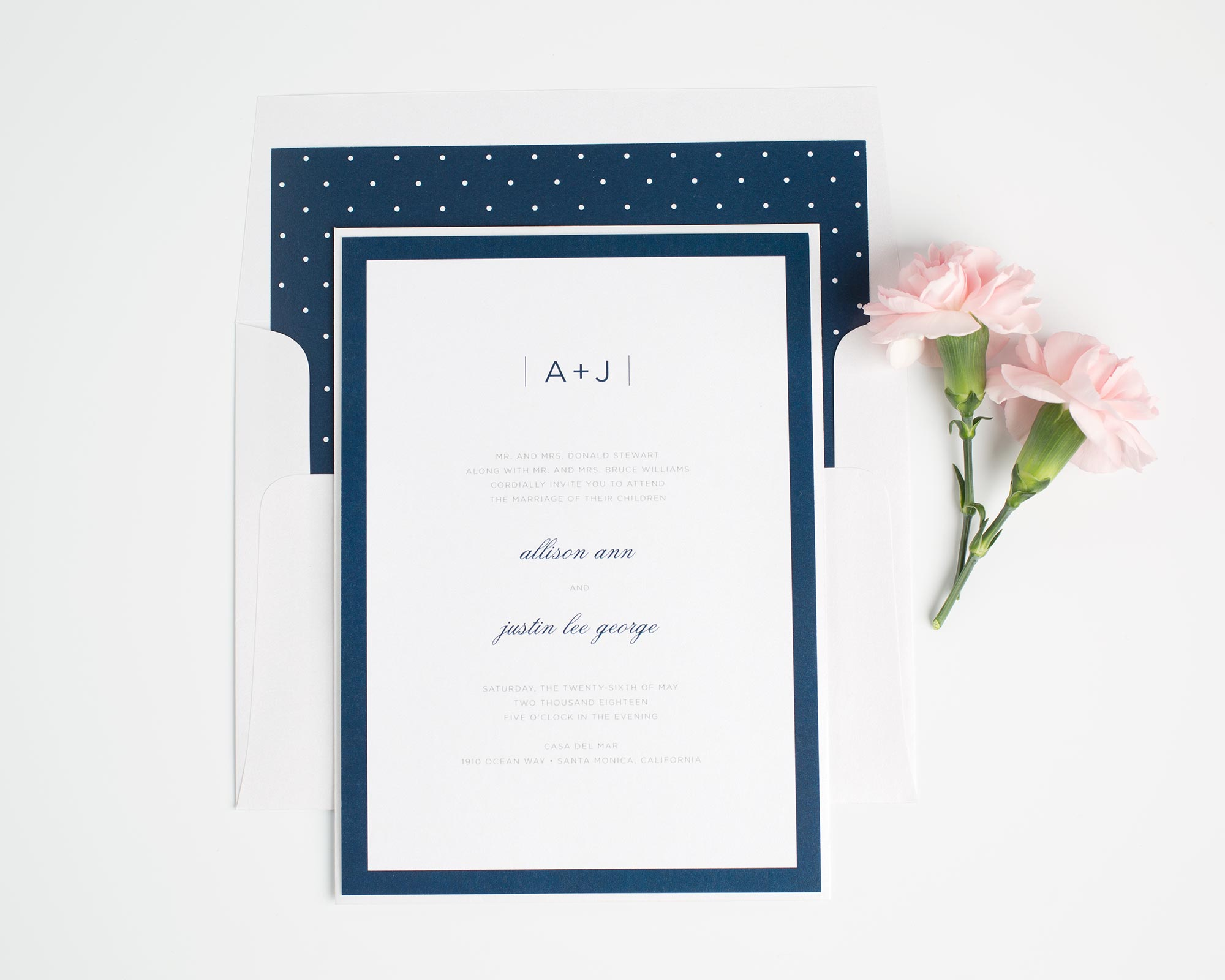 Modern Wedding Invitations with a Polka Dot Envelope Liner