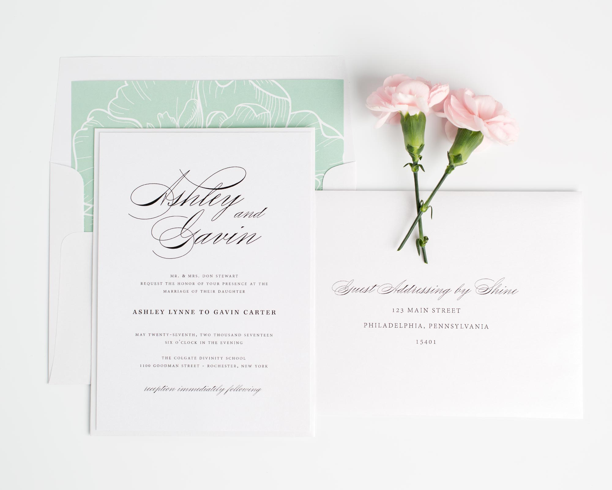 Soft Jade wedding invitations with a floral liner