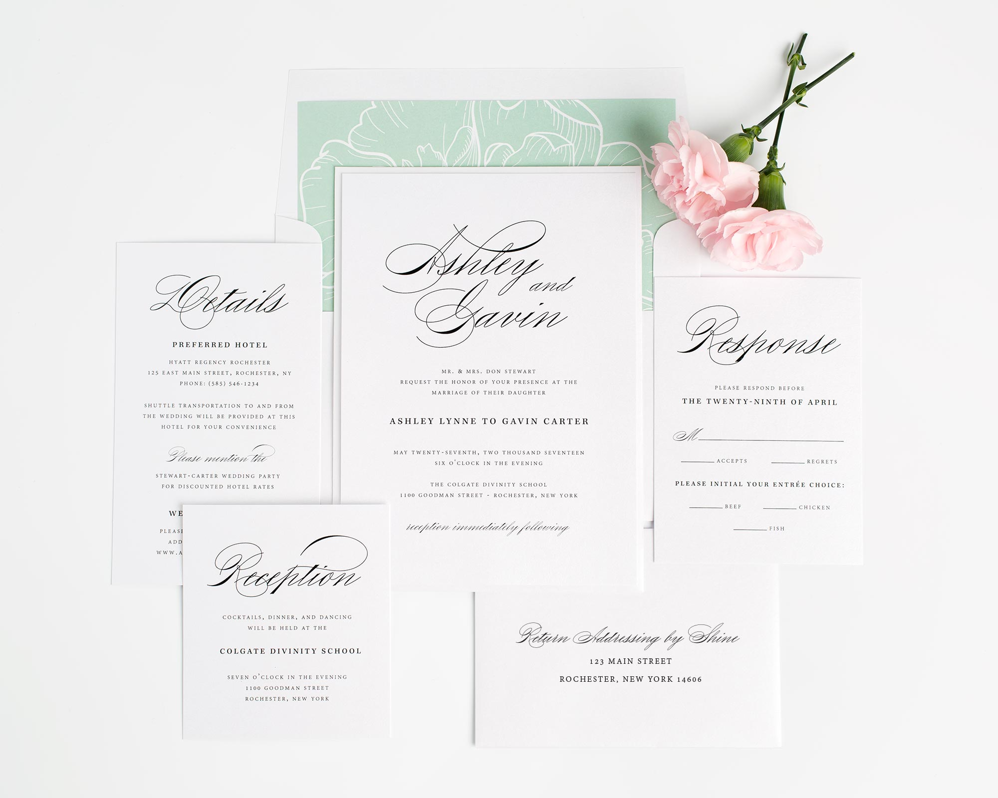 Simple Wedding invitations with Timeless Script in Green