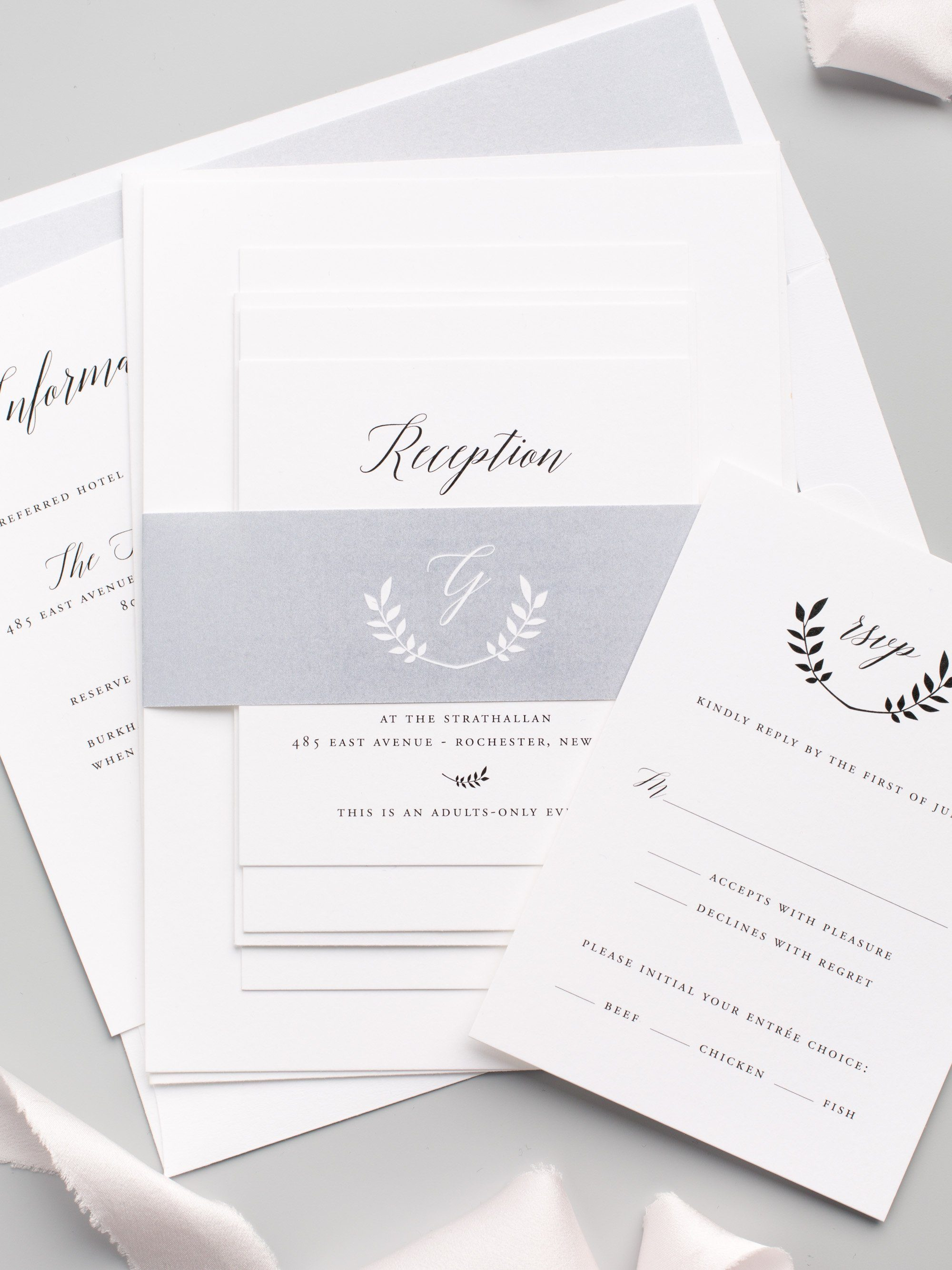 Monogram Wedding Invitations in Gray with Olive Leaves and Modern Calligraphy