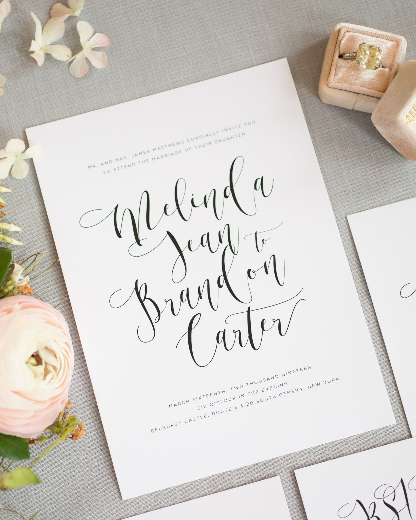 Bold Modern Calligraphy Wedding Invitations