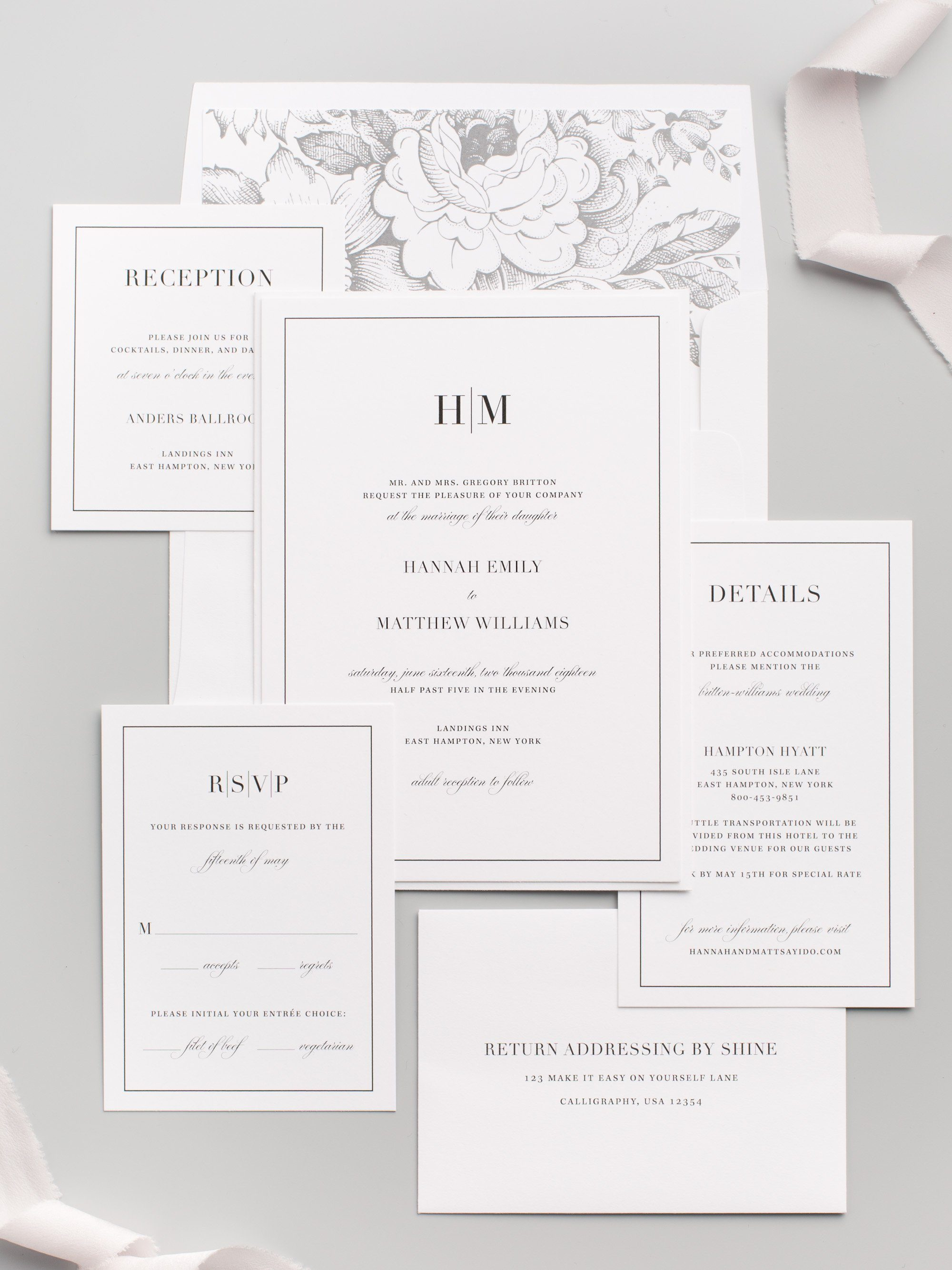 Glamorous and Modern Wedding Invitations with a Floral Envelope Liner