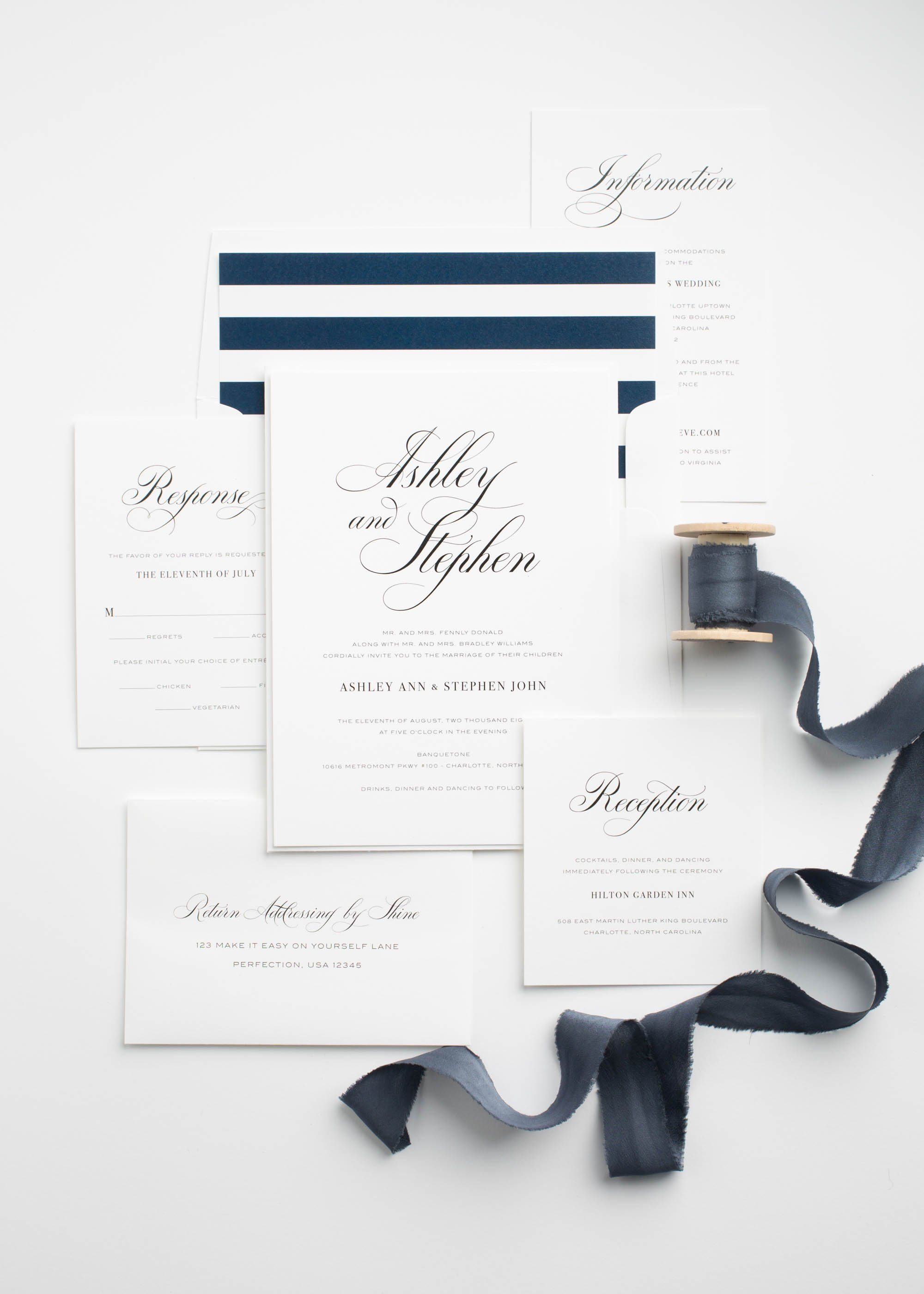 Simple and Elegant Wedding Invitations in Navy Blue with a Striped Envelope Liner