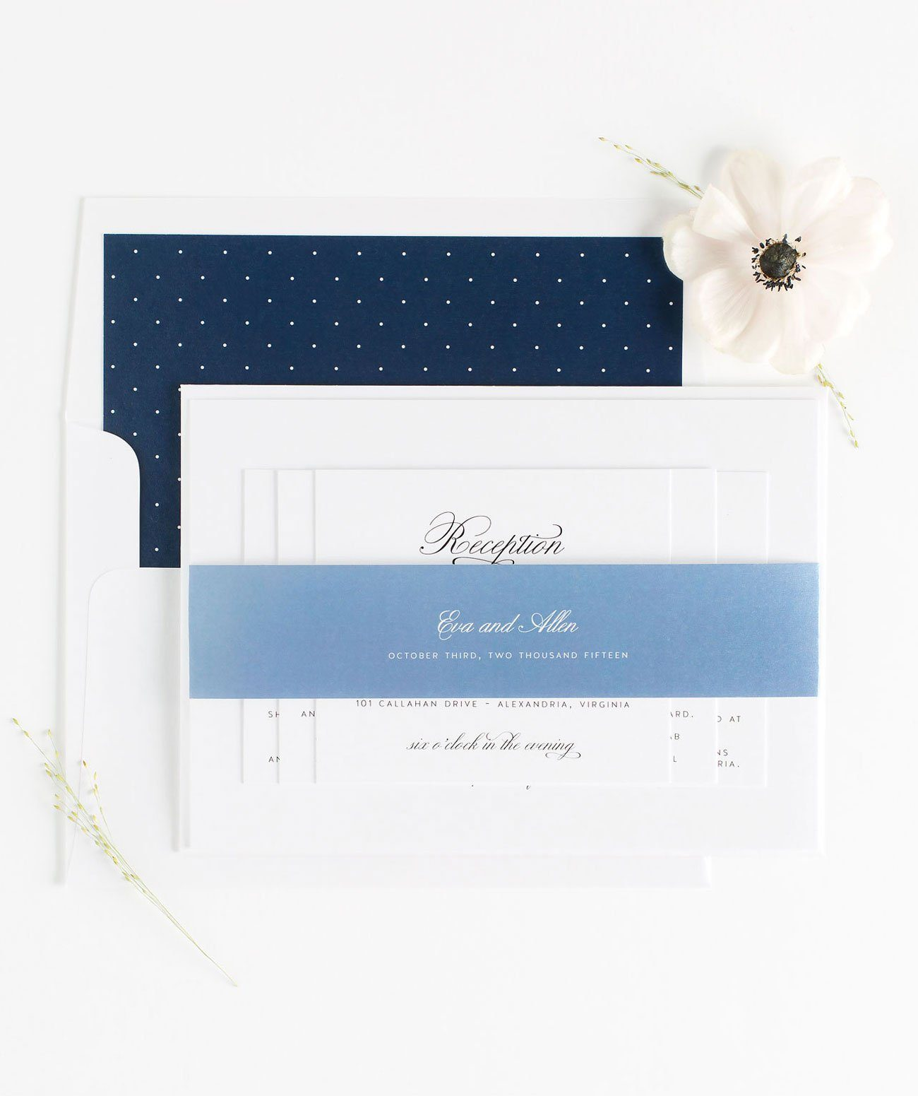 Classic Wedding Invitations in Navy Blue and Dusty Blue