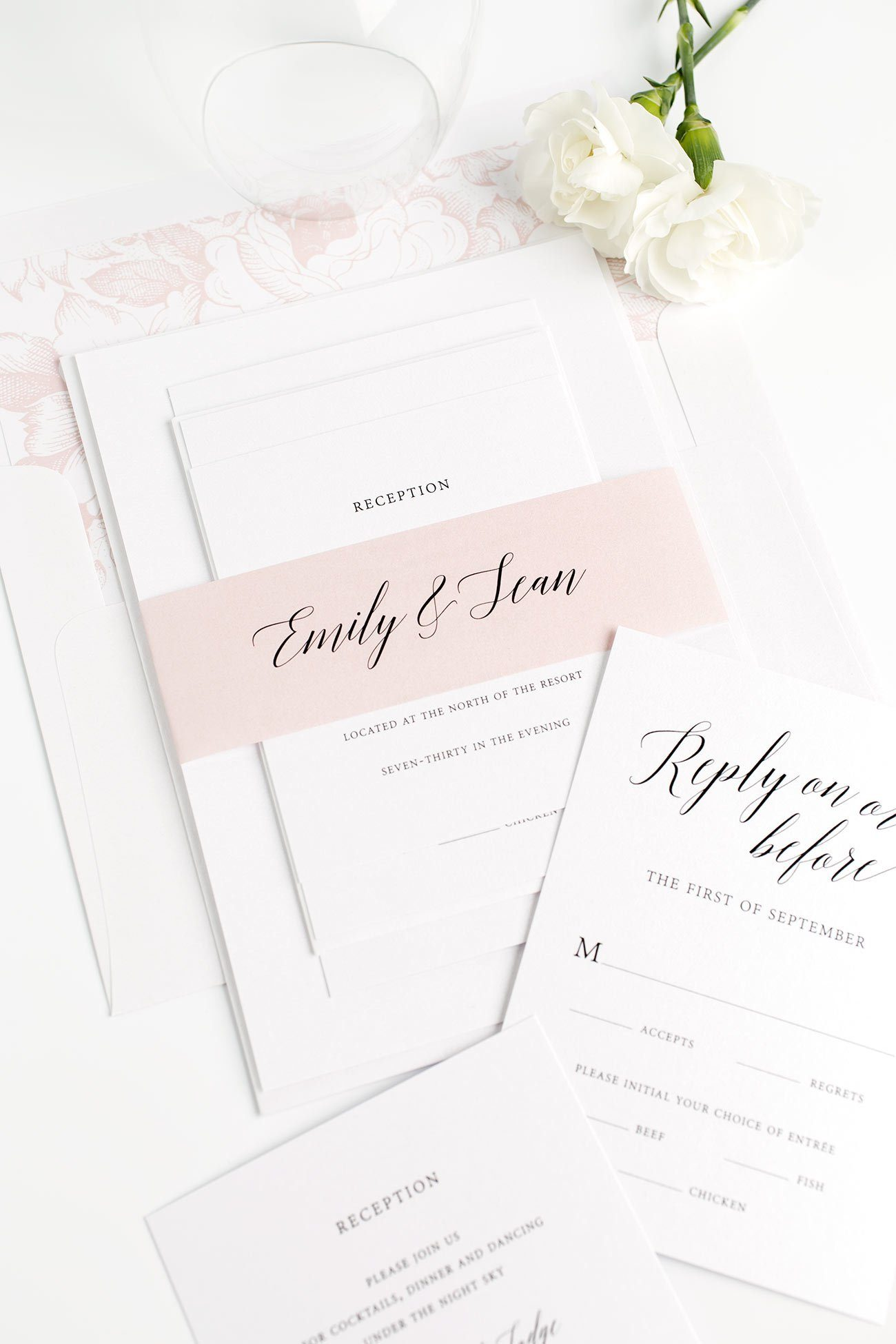 Romantic Garden Inspired Wedding Invitations in Blush Pink with a Floral Garden Rose Envelope Liner