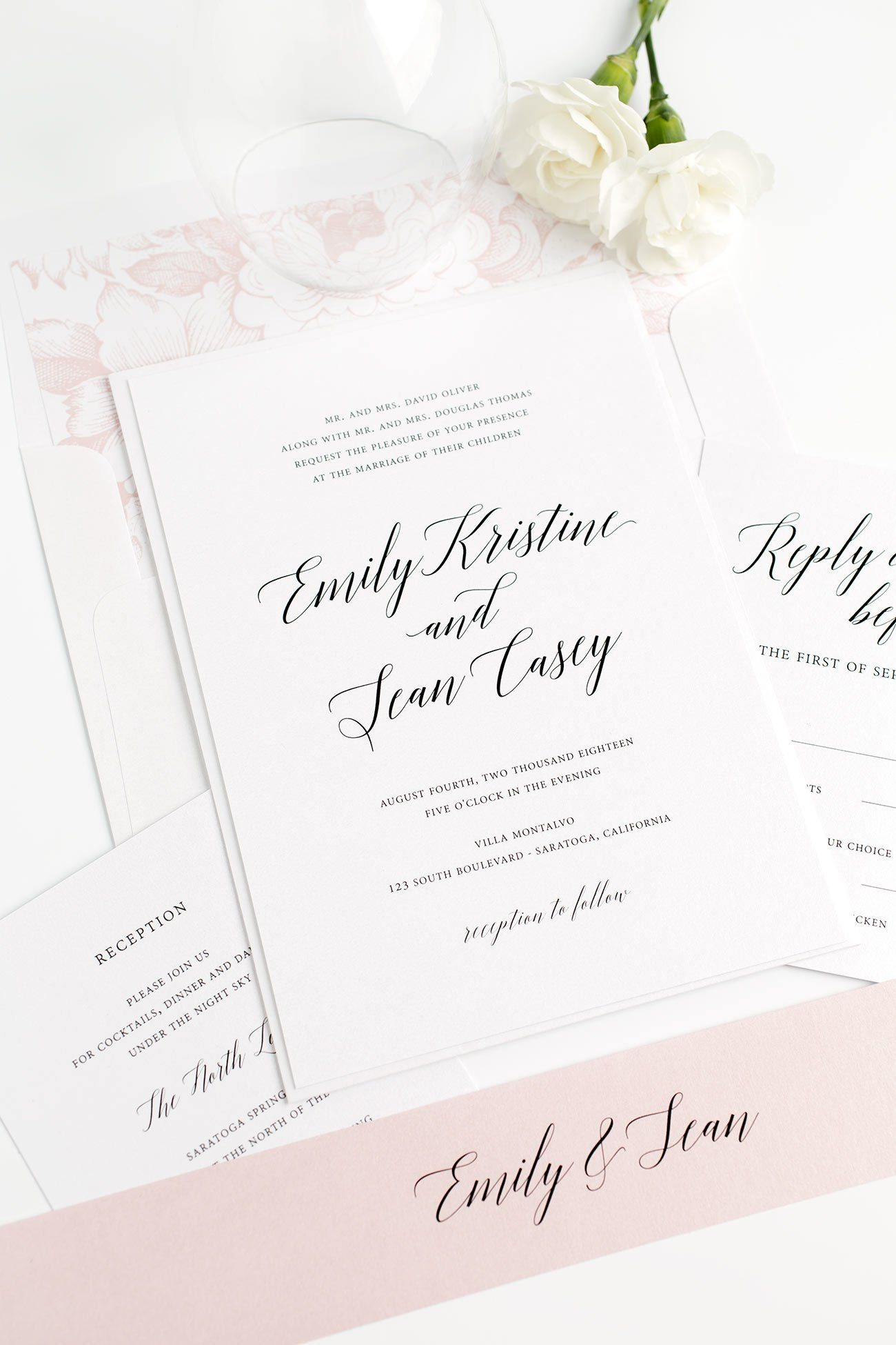 Garden Inspired Calligraphy Wedding Invitations in Blush Pink with a Floral Envelope Liner