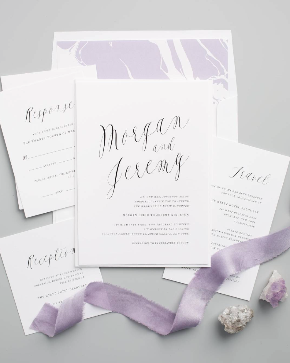Ethereal Calligraphy Wedding Invitations with a marble envelope liner